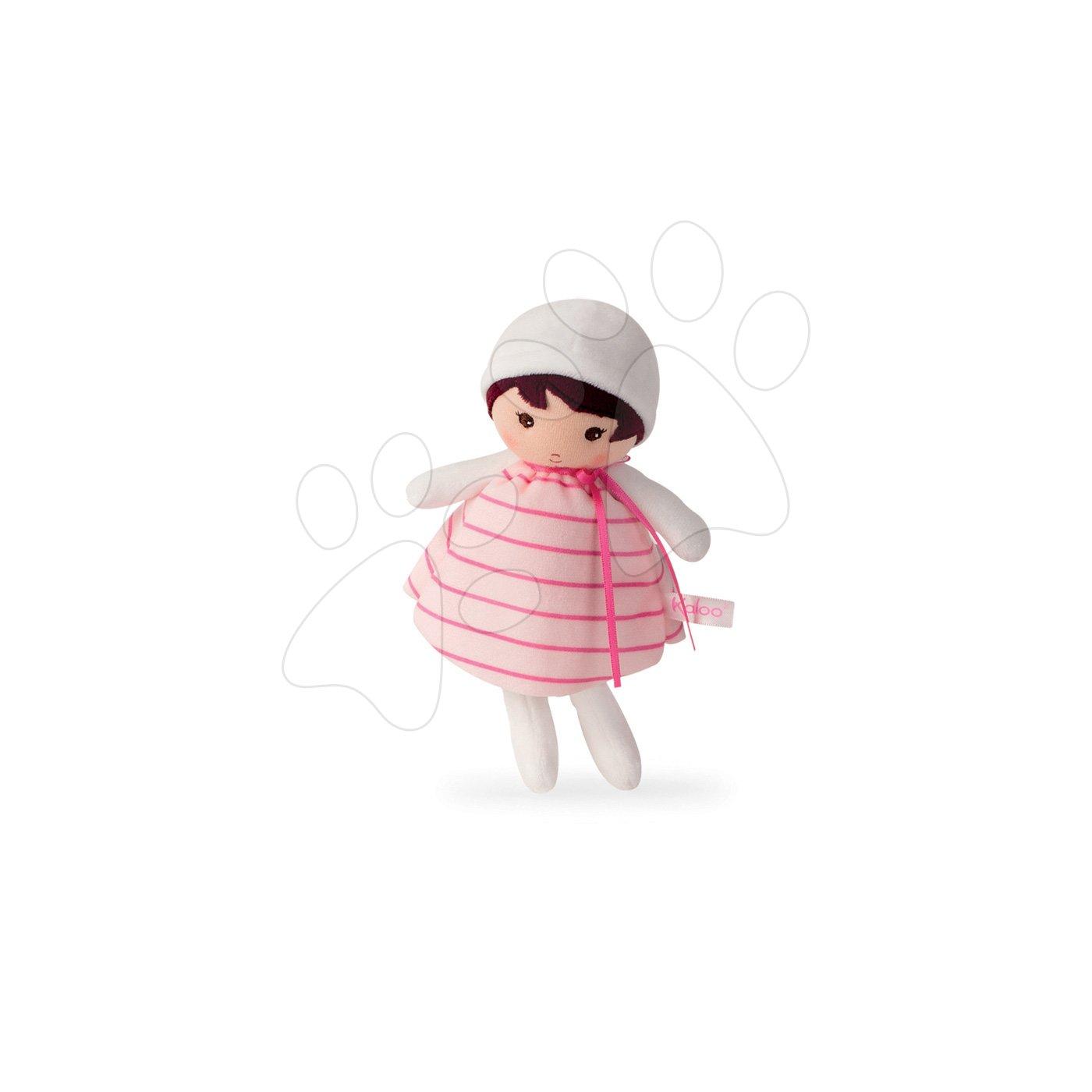 Kaloo panenka pro miminka Rose K Tendresse 18 cm v proužkovaných šatech z jemného textilu v dárkovém balení 962093