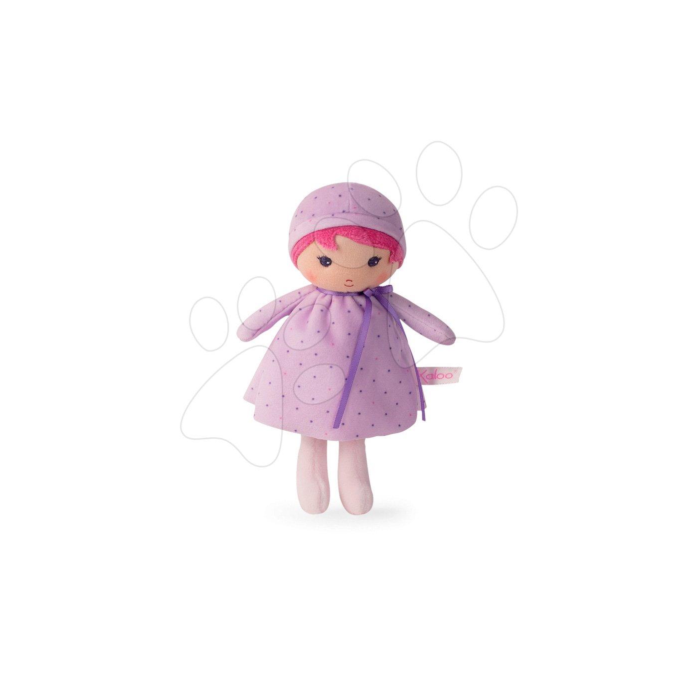 Kaloo panenka pro miminka Lise K Tendresse 18 cm v tečkovaných šatech z jemného textilu v dárkovém balení 962095