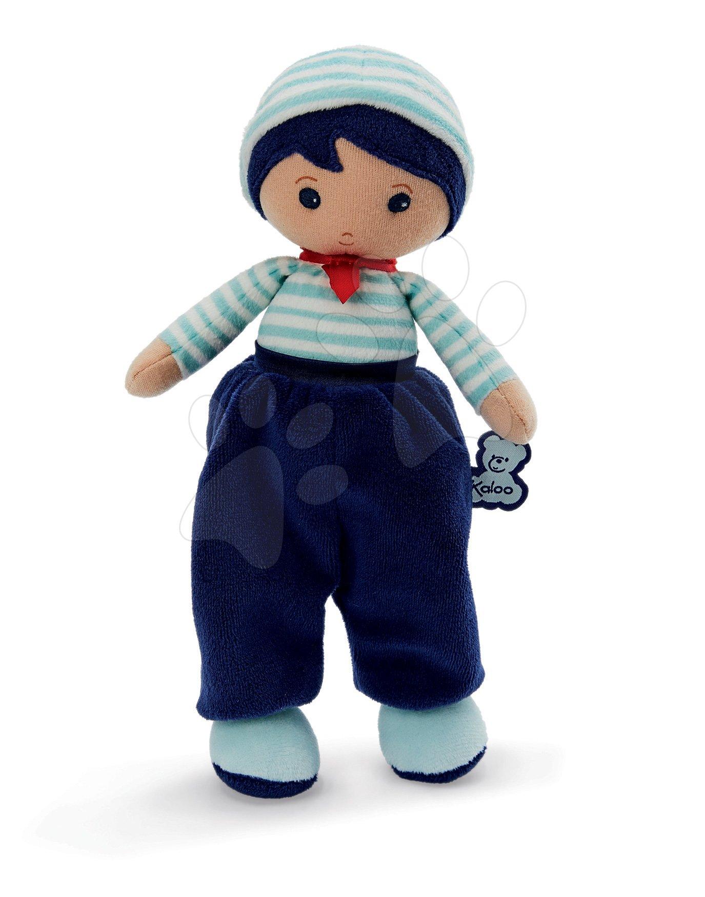 Panenka pro miminka Eliot K Tendresse Kaloo 25 cm v semišových kalhotách z jemného textilu v dárkovém balení od 0 měsíců
