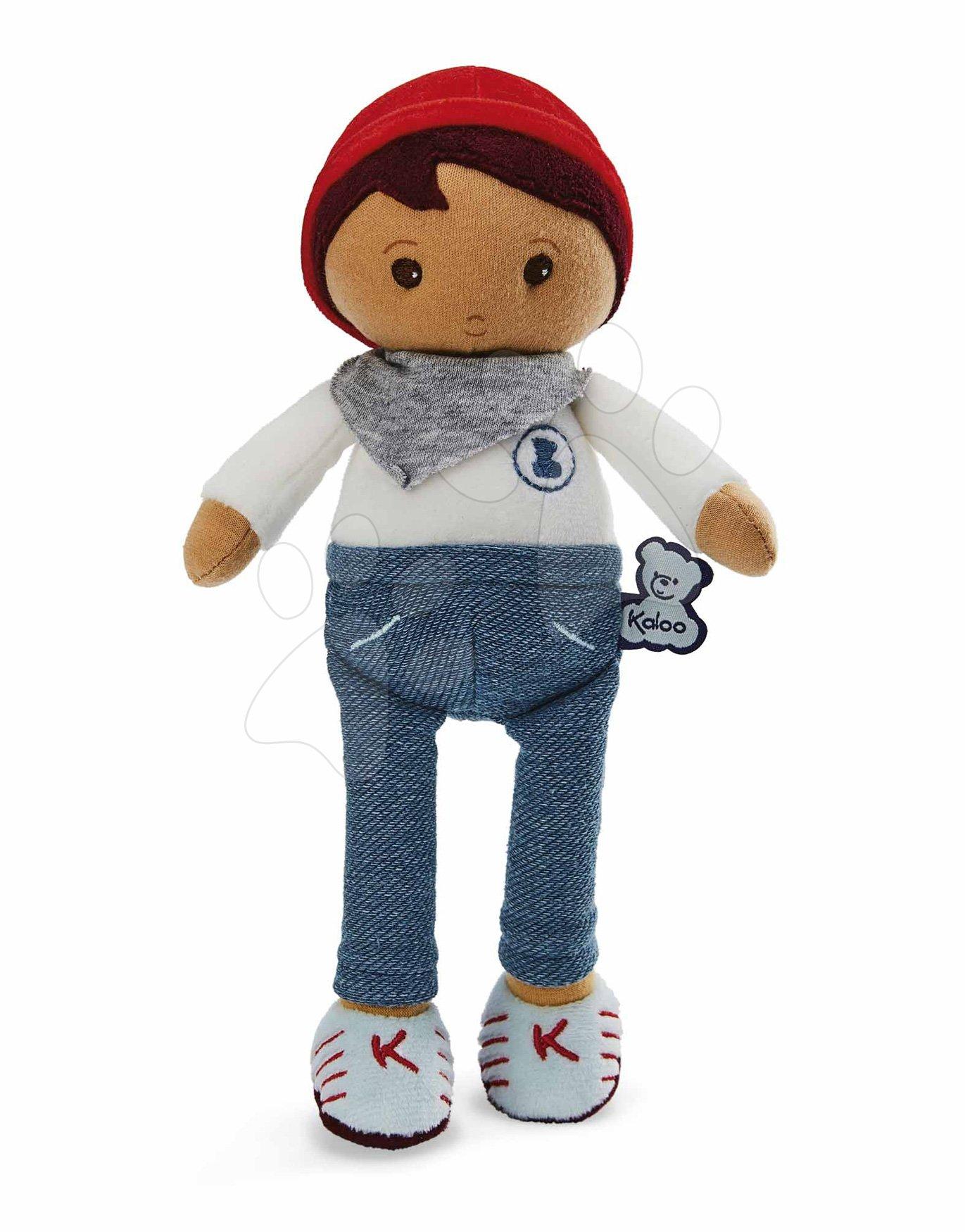 Panenka pro miminka Lucas K Tendresse Kaloo 25 cm v riflových kalhotách z jemného textilu v dárkovém balení od 0 měsíců