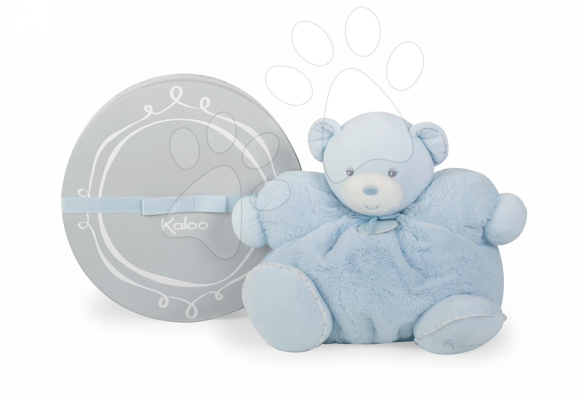 Plyšový medvedík Perle-Chubby Bear Kaloo s hrkálkou 30 cm v darčekovom balení pre najmenších modrý