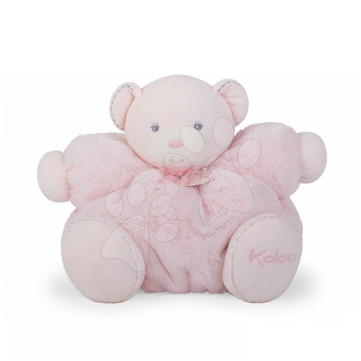 Plyšové medvede - Plyšový medvedík Perle-Chubby Bear Kaloo s hrkálkou 30 cm v darčekovom balení pre najmenších ružový