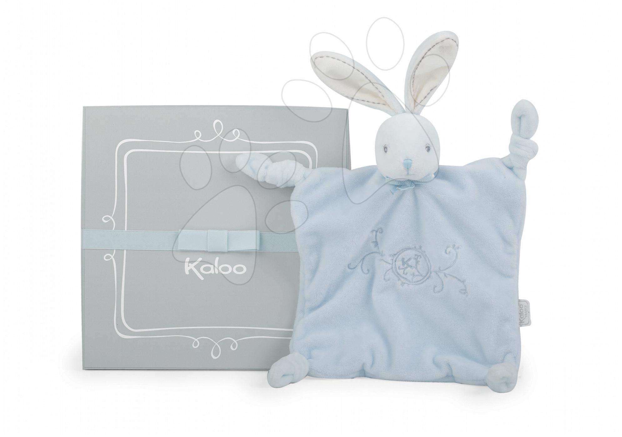 Hračky na maznanie a usínanie - Plyšový zajačik na maznanie Perle-Doudou Knots Rabbit Kaloo 20 cm v darčekovom balení pre najmenších modrý