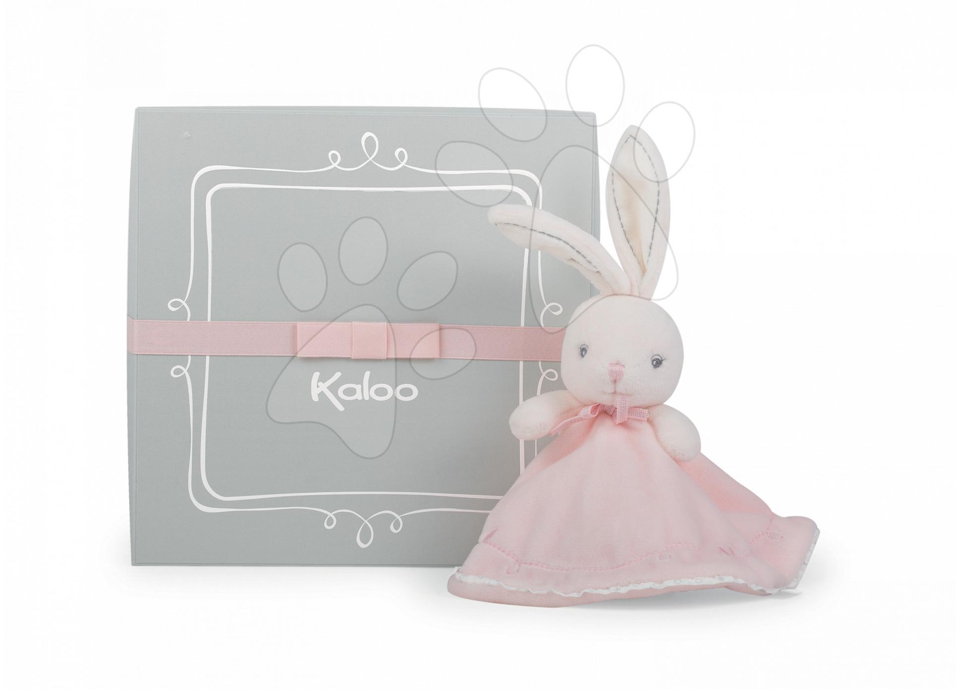 Hračky na maznanie a usínanie - Plyšový zajačik na maznanie Perle-Round Doudou Rabbit Kaloo 20 cm v darčekovom balení pre najmenších ružový