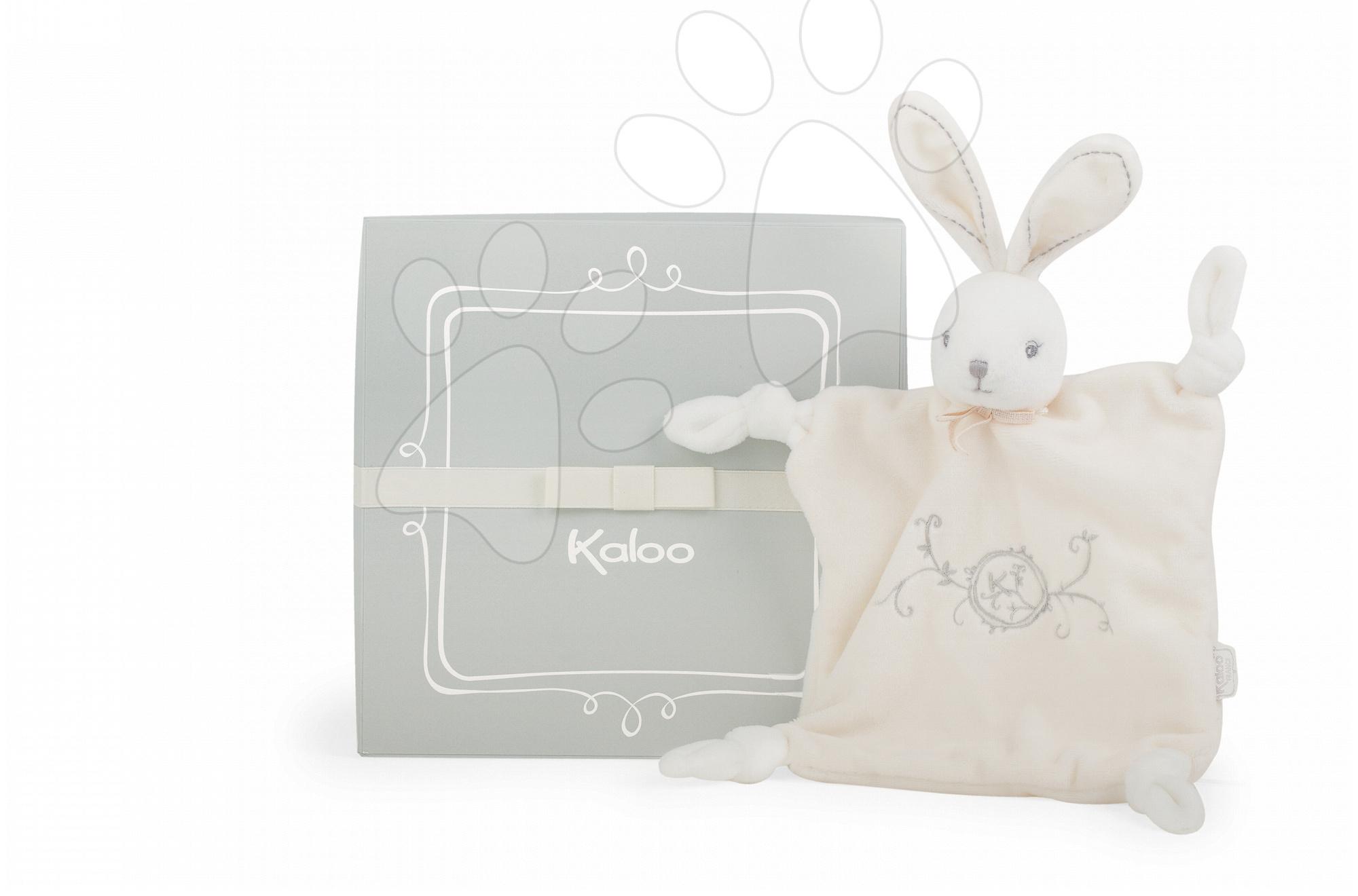 Plyšový králíček na mazlení Perle-Doudou Knots Rabbit Kaloo 20 cm v dárkovém balení pro nejmenší krémový