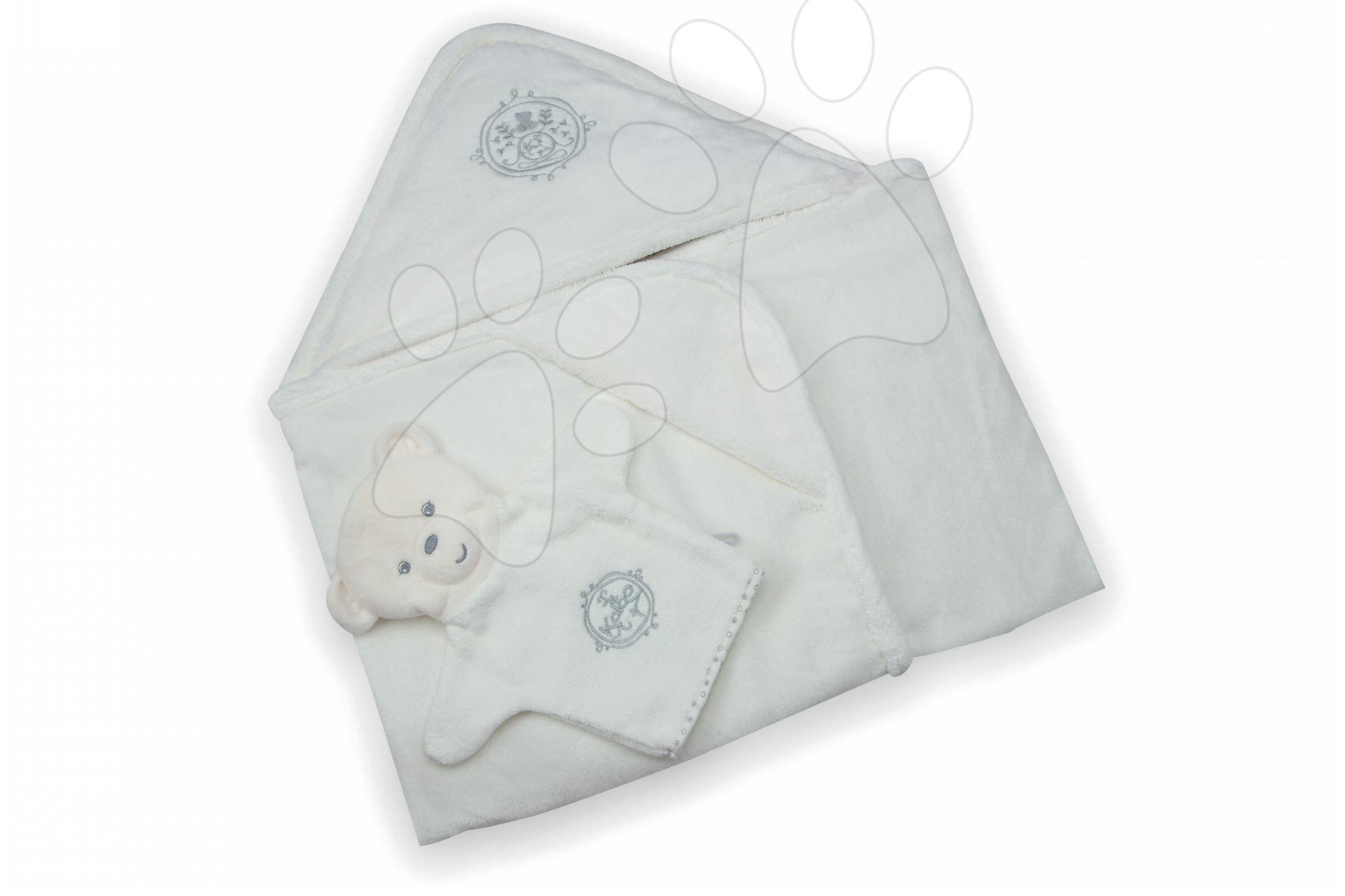 Dojčenské osušky - Osuška s kapucňou pre najmenších Perle-Bath Kaloo so žinkou biela od 0 mesiacov