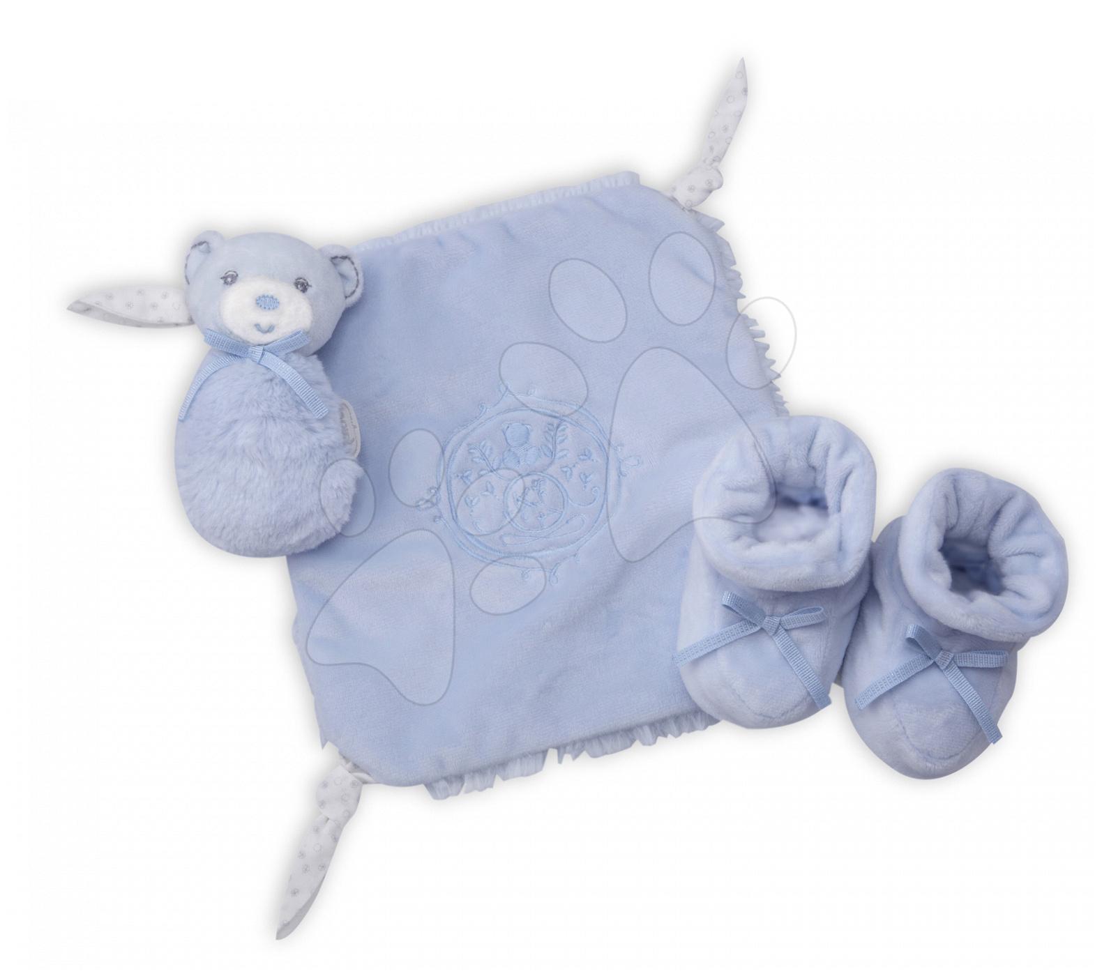 Plyšový medvídek pro nejmenší Perle-Gift Set Kaloo s chrastítkem a botičkami modrý od 0 měsíců