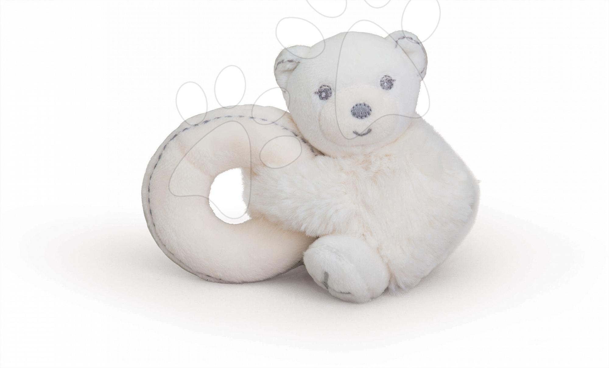 Hrkálky a hryzátka - Plyšový medvedík Perle-Mini Ratles Kaloo s hrkálkou 10 cm pre najmenších krémový