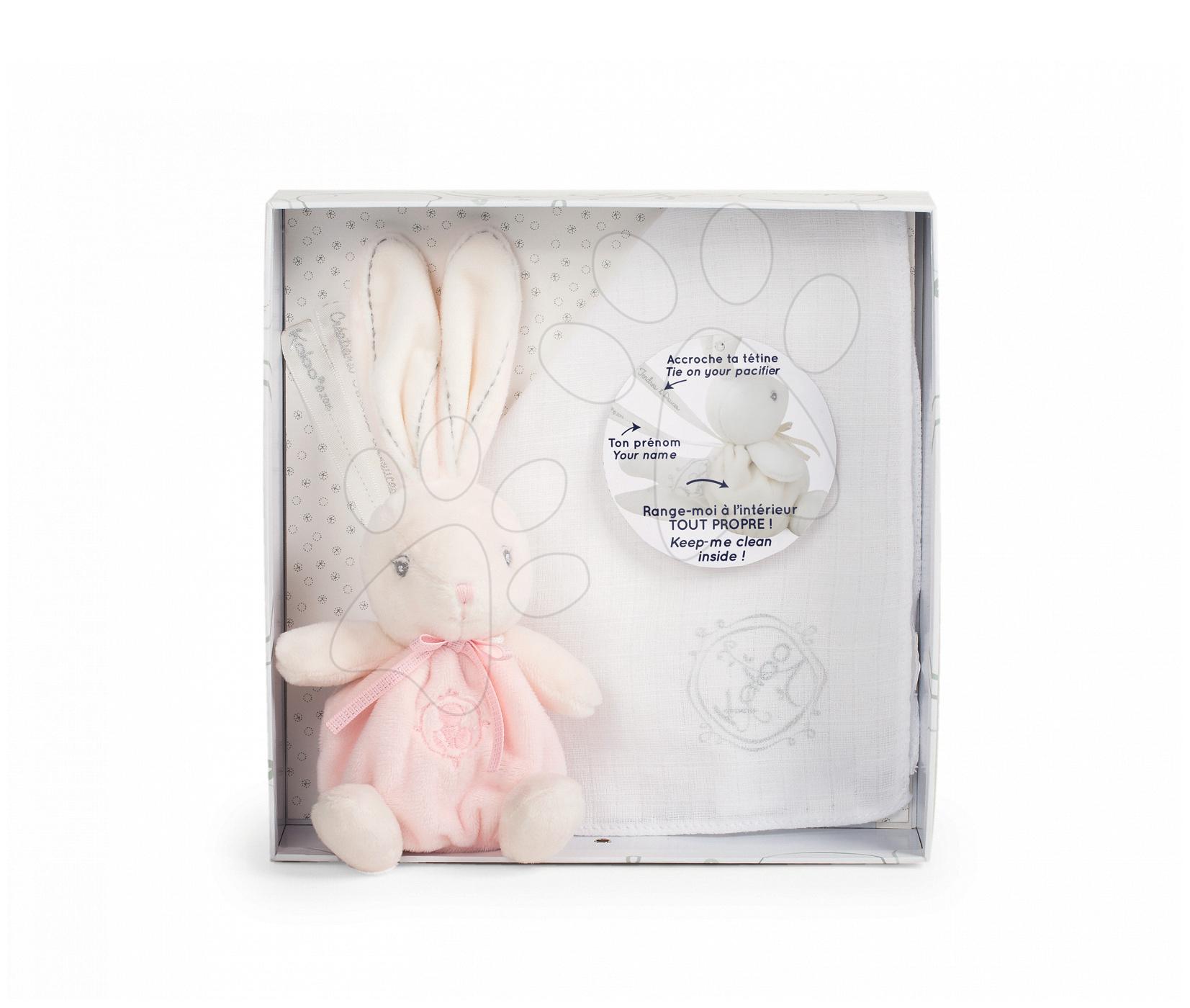 Plyšový zajíček na mazlení Perle Kaloo 40 cm v dárkovém balení růžovo-bílý