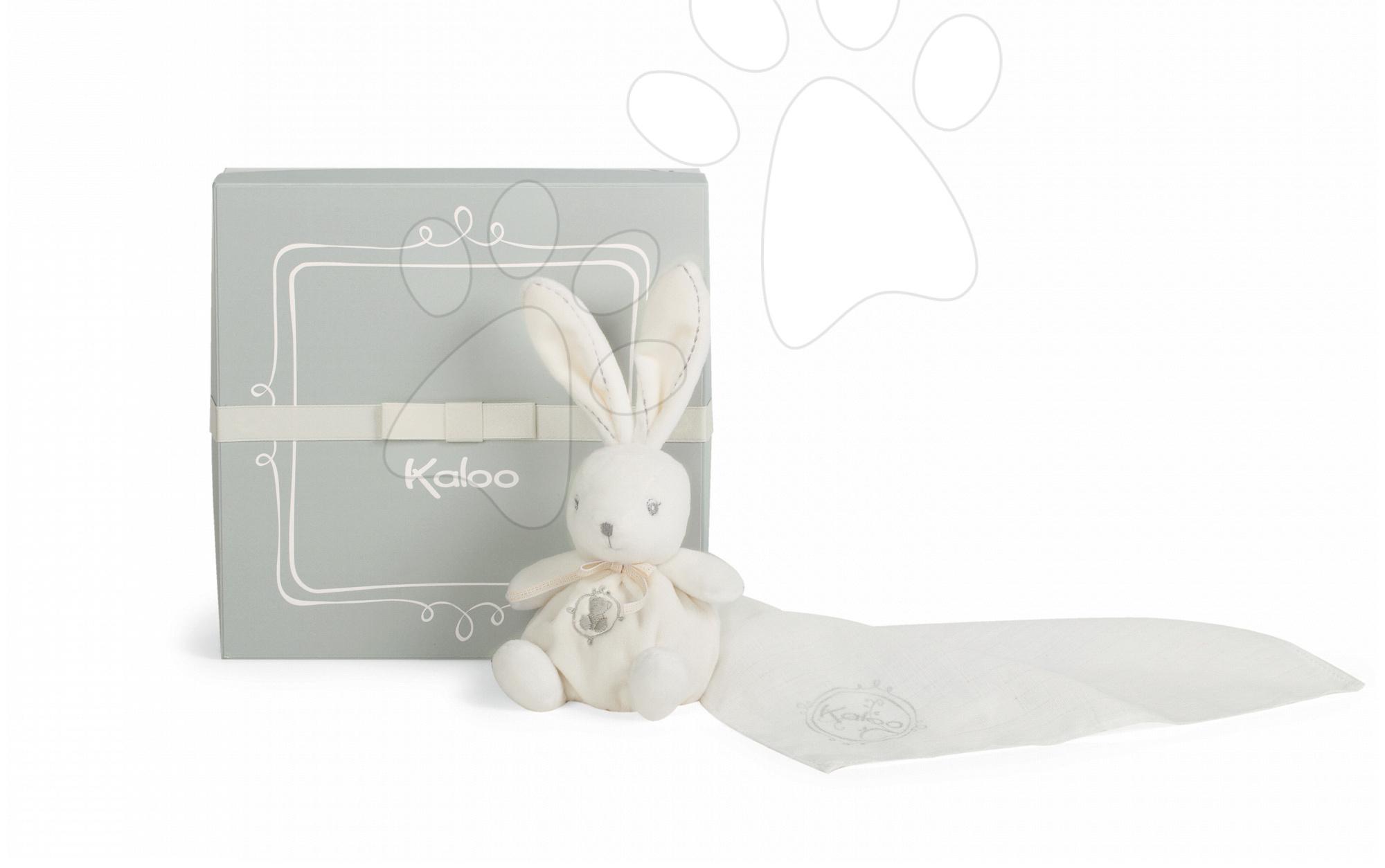 Plyšový zajačik na maznanie Perle Kaloo oo s jemnou handričkou 40 cm v darčekovom balení pre najmenších krémovo-biely