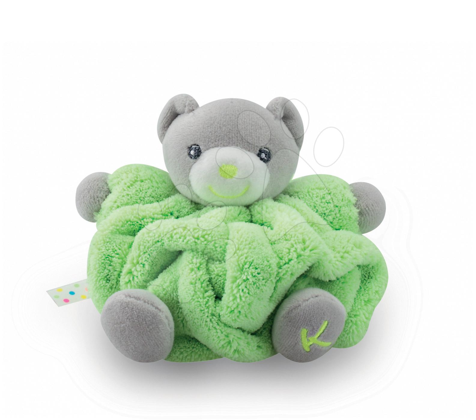 Plyšové medvede - Plyšový medvedík Plume-Mini Neon Kaloo 12 cm pre najmenších zelený