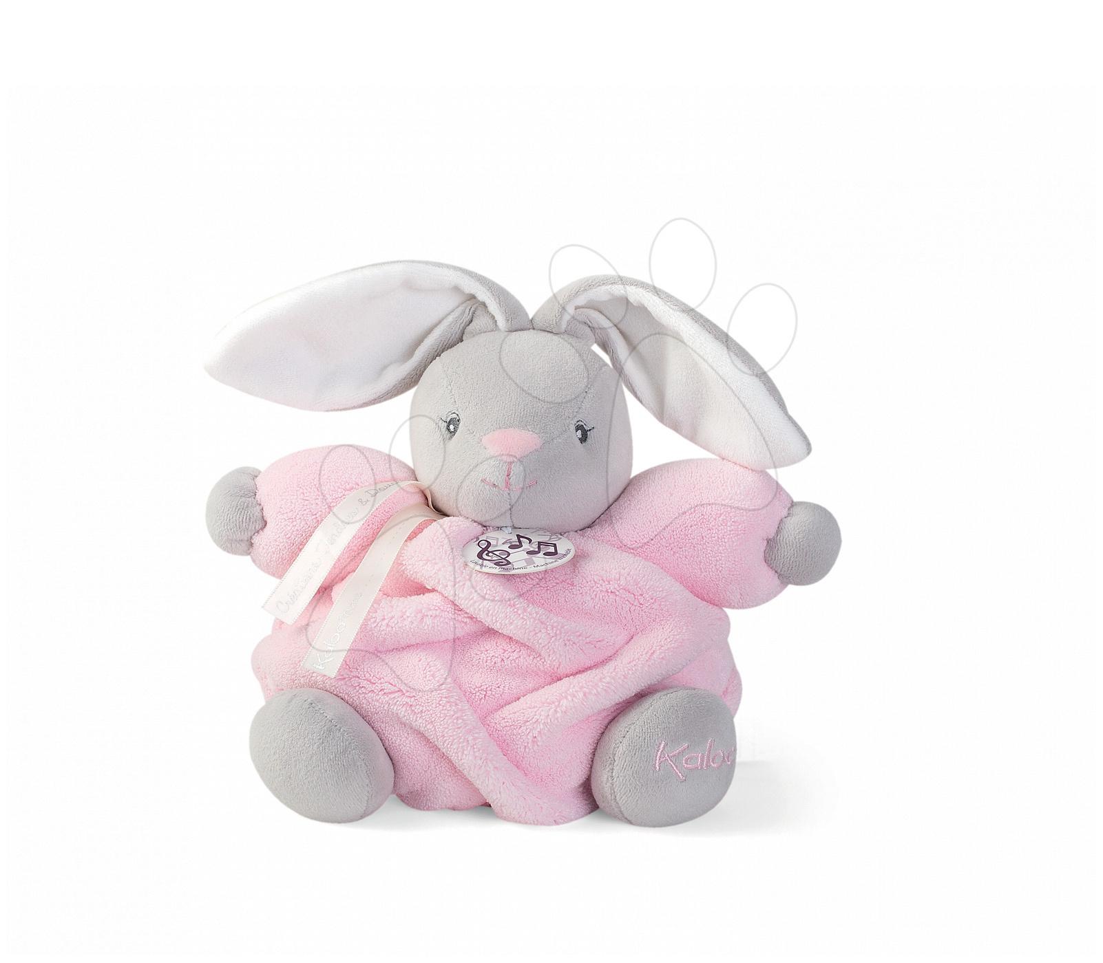 Hračky pre bábätká - Plyšový zajačik Plume-P'tit Lapin Rose Musical Kaloo spievajúci 18 cm v darčekovom balení pre najmenších ružový