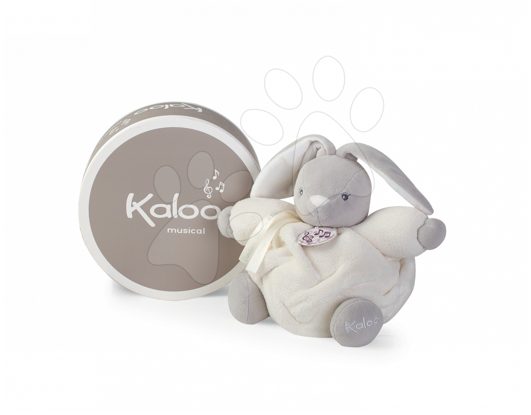 Plyšový zajačik Plume-P'tit Lapin Creme Musical Kaloo spievajúci 18 cm v darčekovom balení pre najmenších krémový