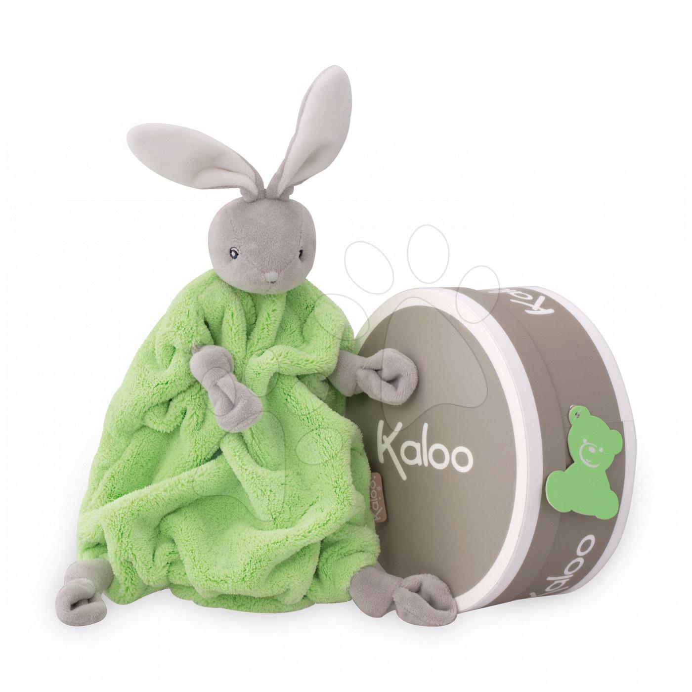Plyšový králíček na mazlení Neon Doudou Kaloo 20 cm v dárkovém balení zelený