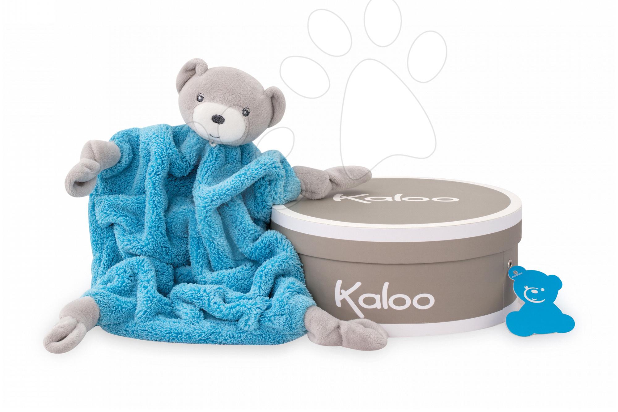 Hračky na maznanie a usínanie - Plyšový medveď na maznanie Neon Doudou Kaloo 20 cm v darčekovom balení pre najmenších modrý