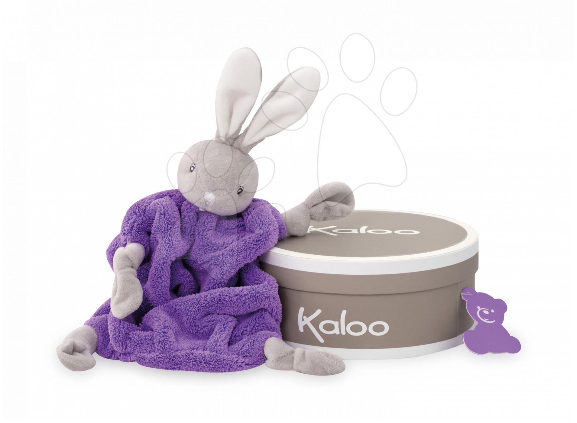 Hračky na maznanie a usínanie - Plyšový zajačik na maznanie Neon Doudou Kaloo 20 cm v darčekovom balení pre najmenších fialový