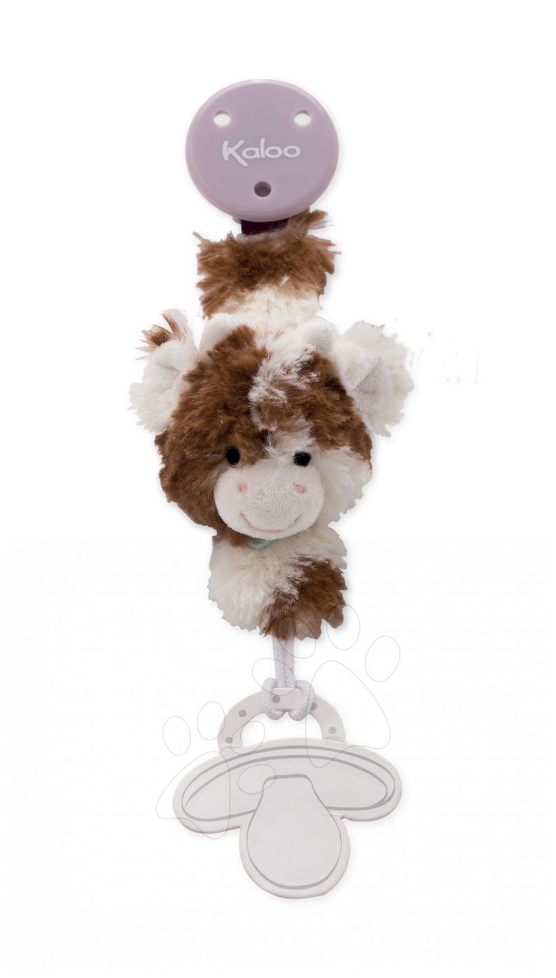 Klip na dudlík Les Amis Kaloo 22 cm s plyšovou kravičkou z jemného měkkého plyše pro nejmenší krémově-hnědý