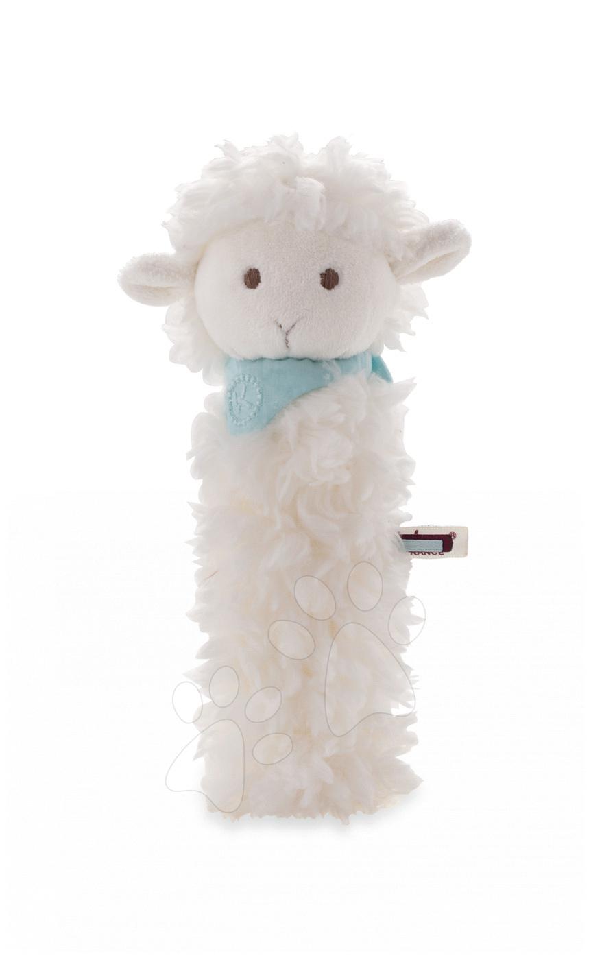 Plyšové chrastítko ovečka Les Amis Kaloo pískací 19 cm z jemného plyše pro nejmenší bílá