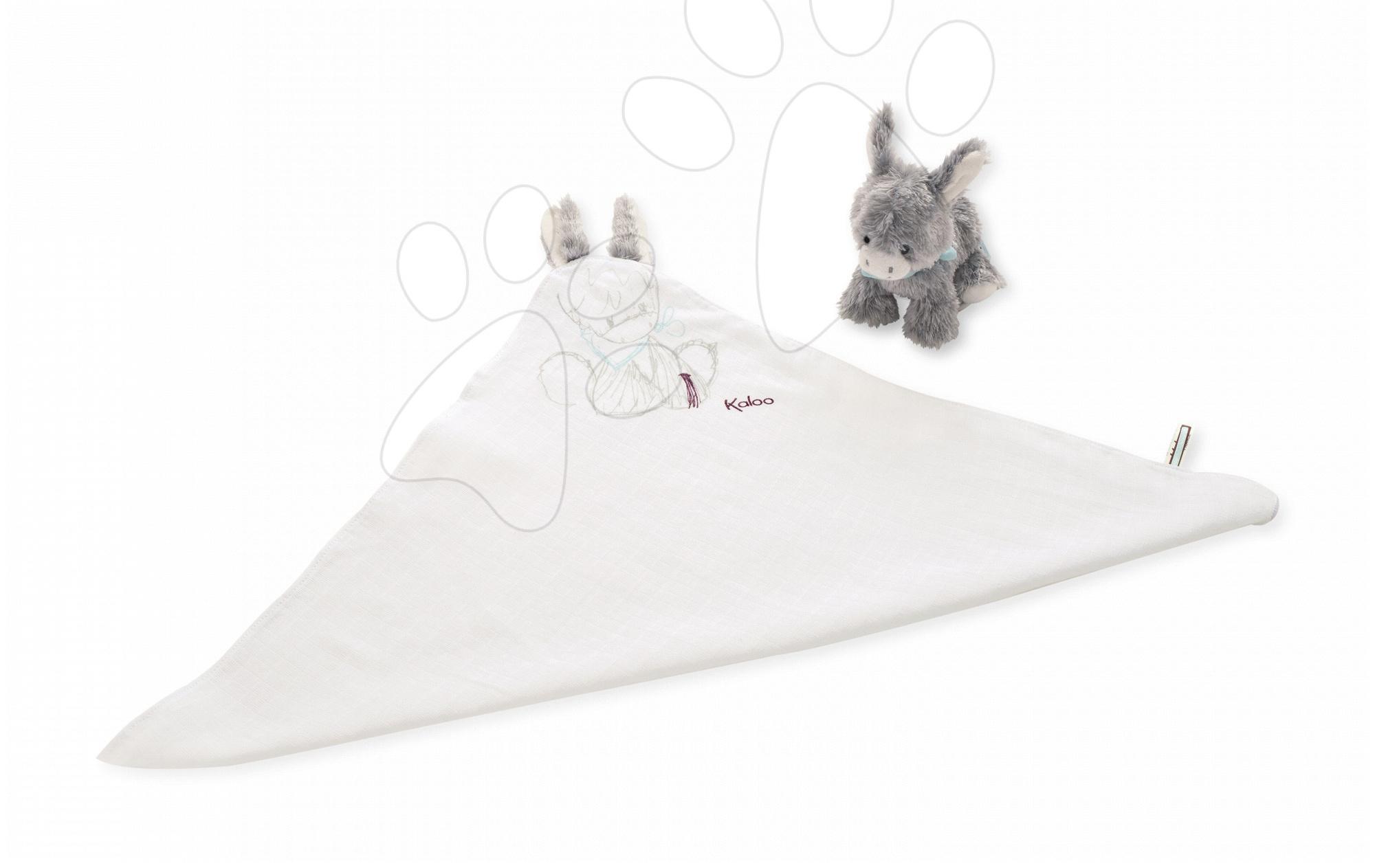 Oslík na mazlení Les Amis Doudou Kaloo s oušky z jemného měkkého materiálu a oslík pro nejmenší bílo-šedý