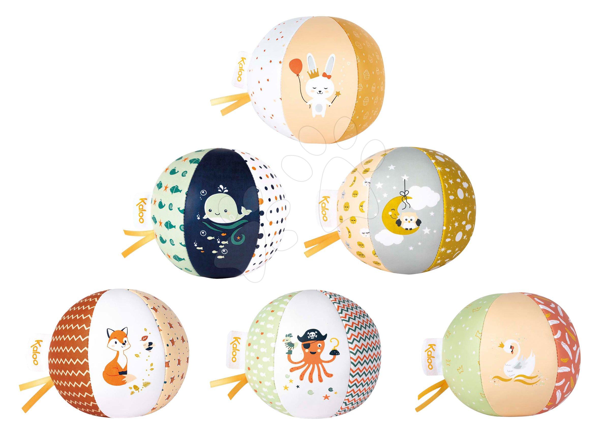 Textilná loptička do postieľky My cute ball Kaloo 10 cm 6 motívov - Zajačik, Veľryba, Sovička, Labuť, Chobotnica, Líška od 0 mes