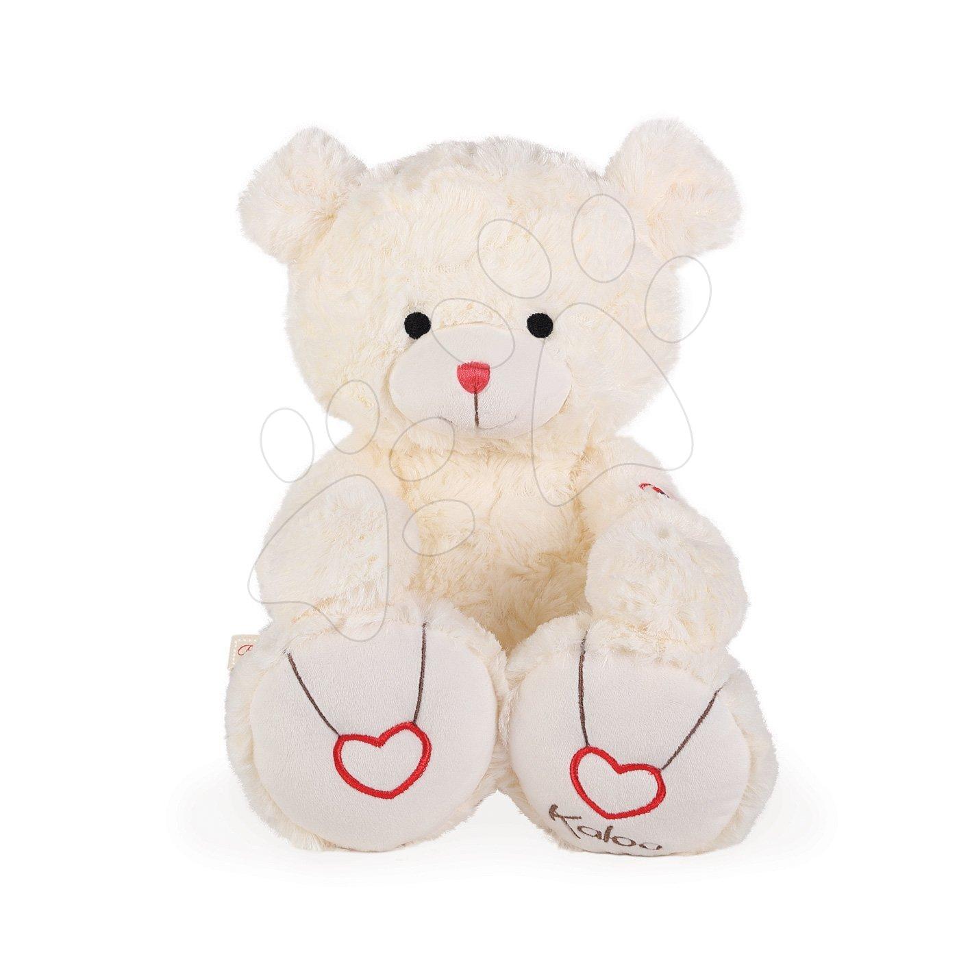 Plyšový medvedík Rouge Kaloo s výšivkou pre najmenšie deti 38 cm krémový od 0 mesiacov