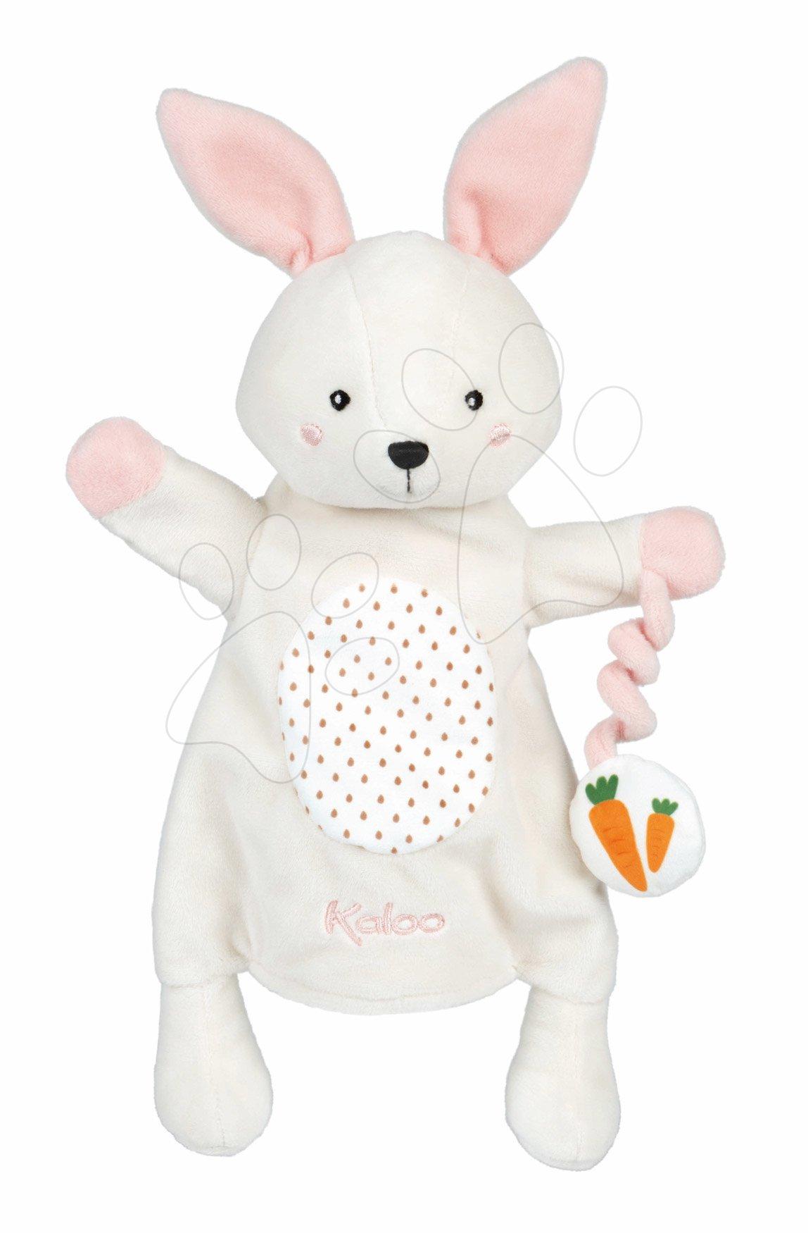 Plyšový zajačik bábkové divadlo Robin Rabbit Kachoo Kaloo s príveskom mrkvička 30 cm pre najmenších od 0 mes