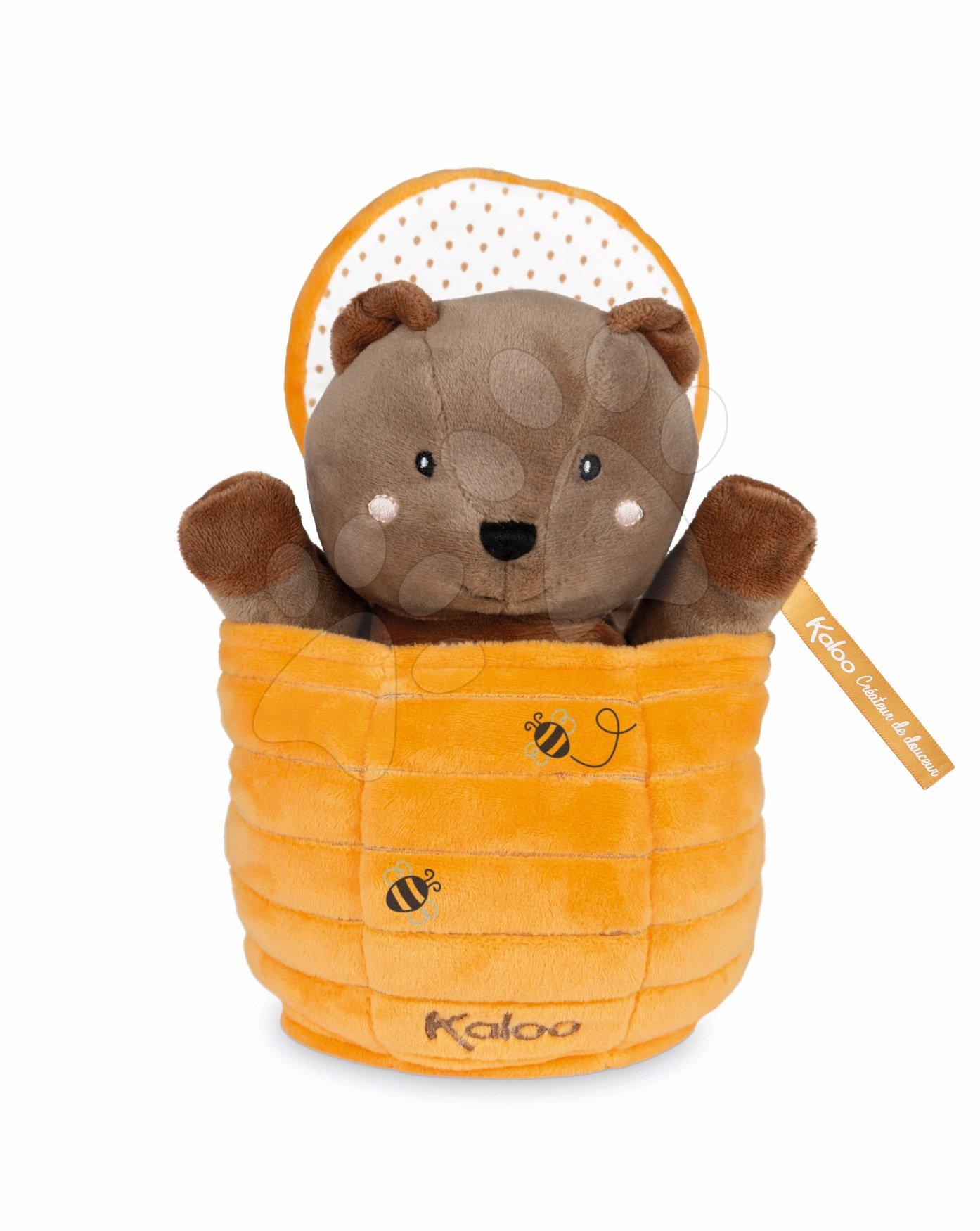 Plyšový medveď bábkové divadlo Ted Bear Kachoo Kaloo prekvapenie v úli 25 cm pre najmenších od 0 mes