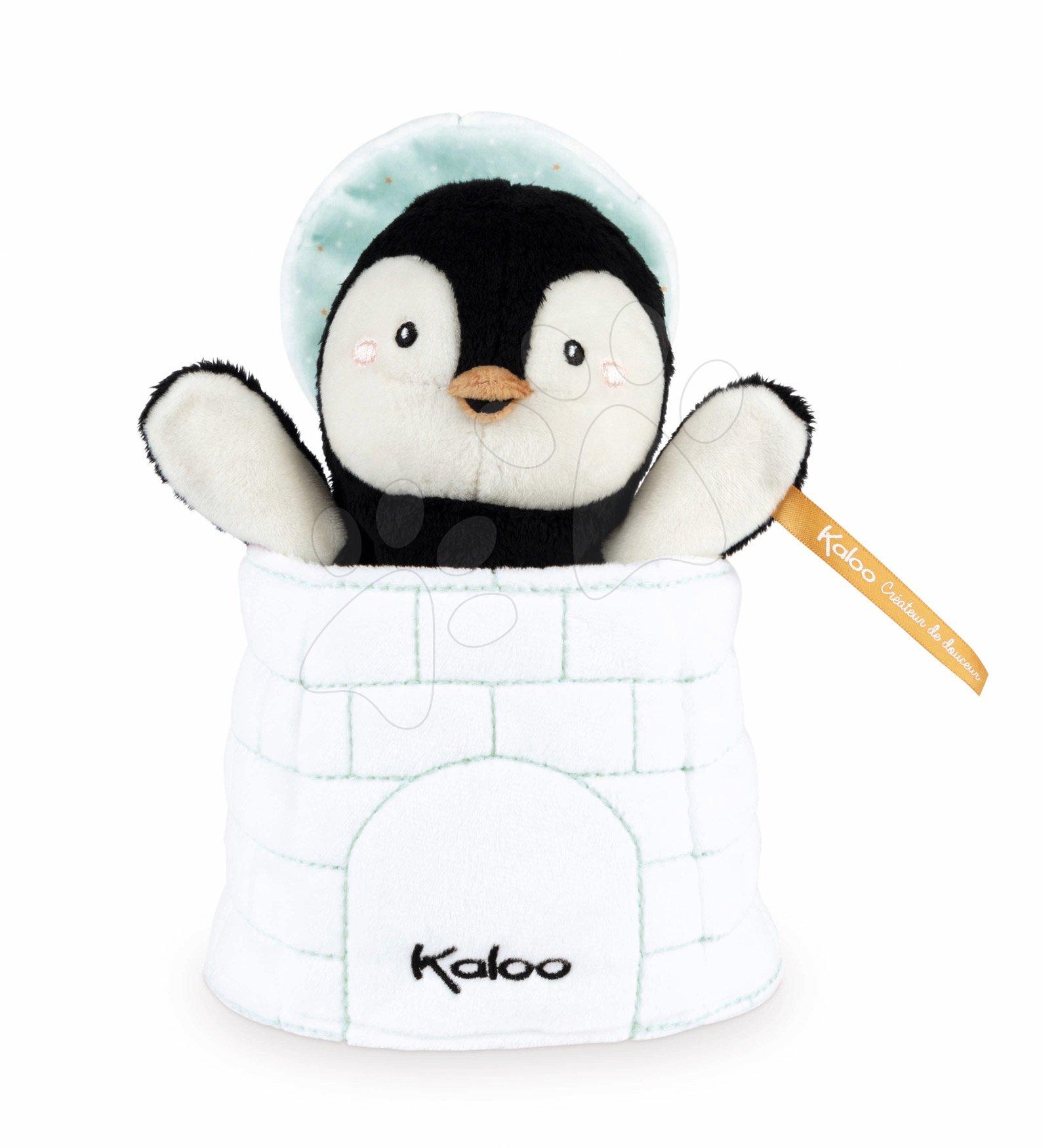 Plyšový tučniak bábkové divadlo Gabin Penguin Kachoo Kaloo prekvapenie v iglú 25 cm pre najmenších od 0 mes