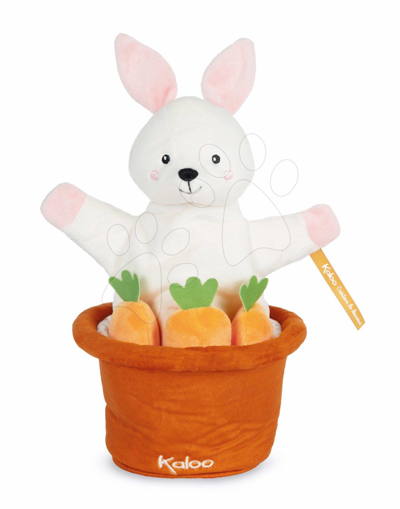 Plyšový zajačik bábkové divadlo Robin Rabbit Kachoo Kaloo prekvapenie v kvetináči 25 cm pre najmenších od 0 mes