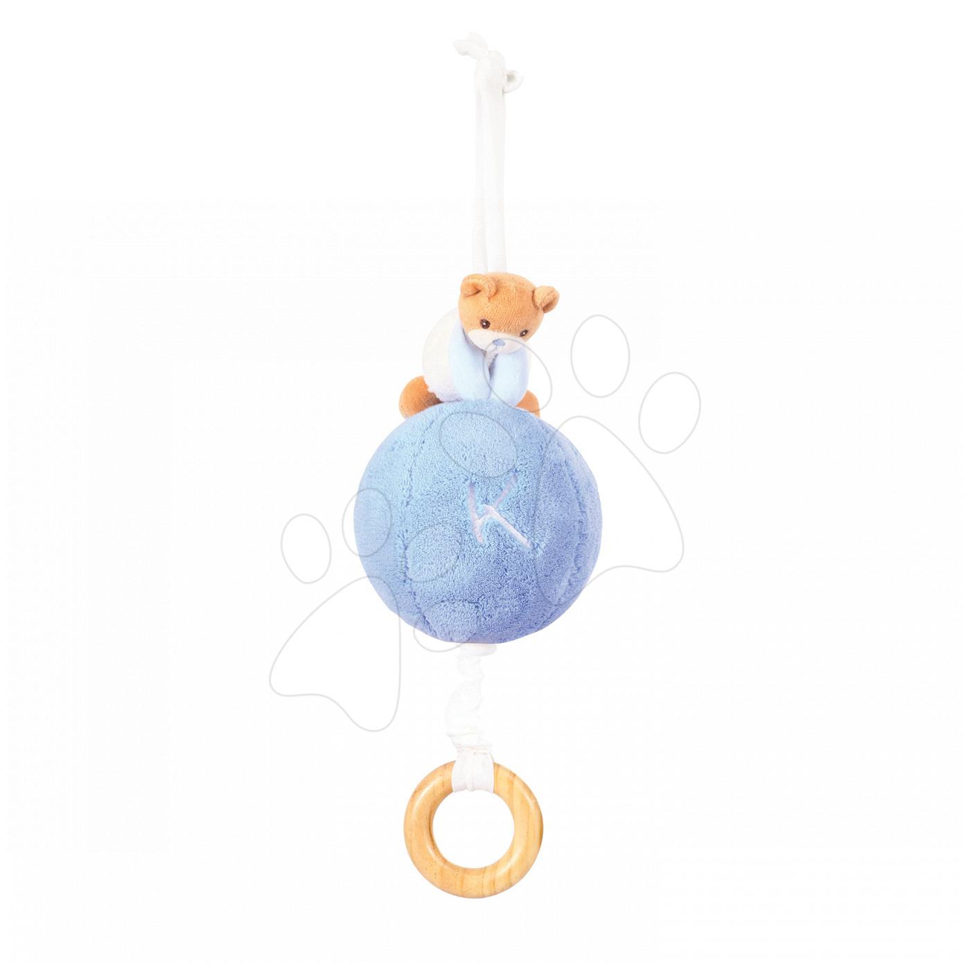Plyšový míček medvěd s hudbou Plume - Pull Along Ball Kaloo modrý z jemného měkkého plyše