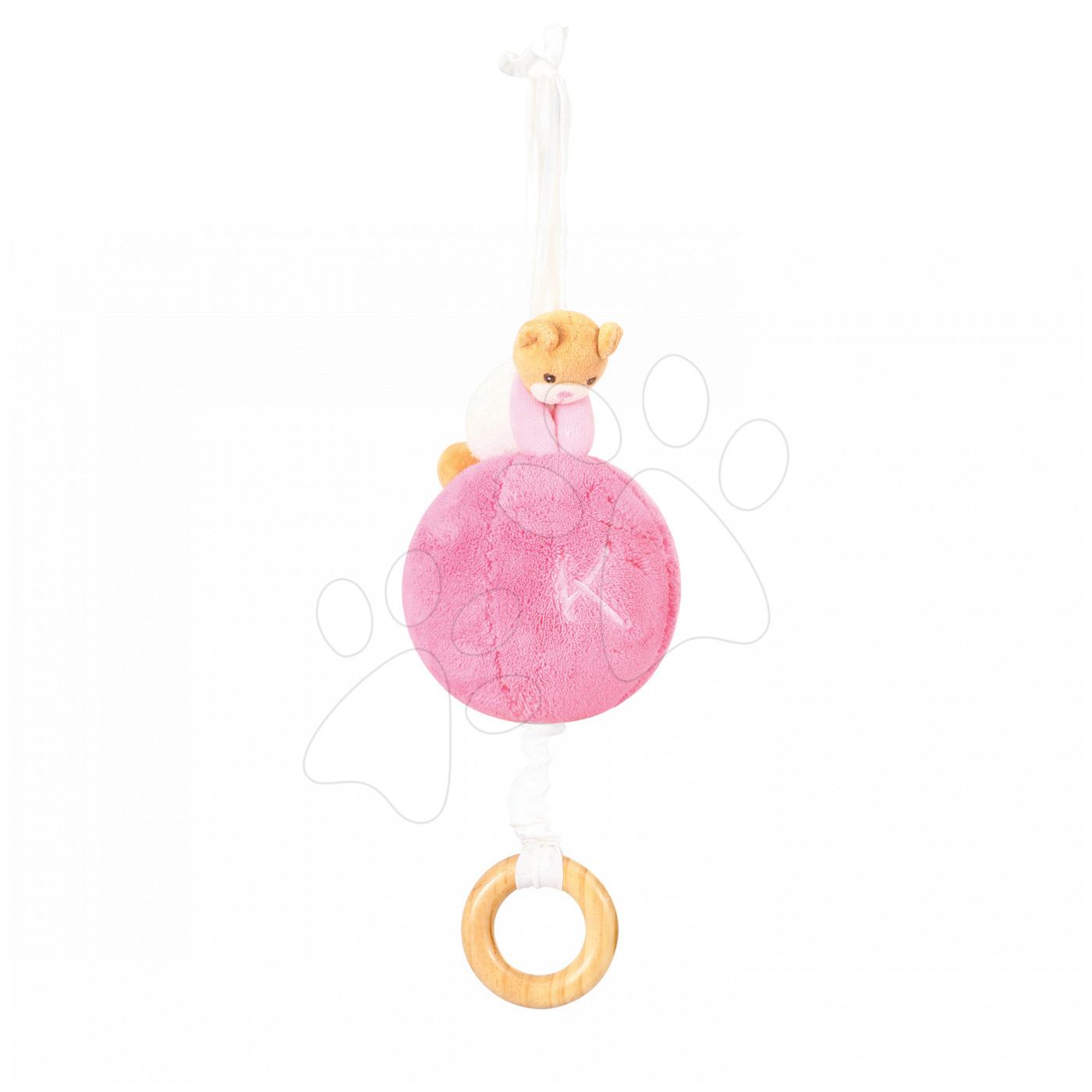 Plyšový míček medvěd s hudbou Plume - Pull Along Ball Kaloo růžový z jemného měkkého plyše