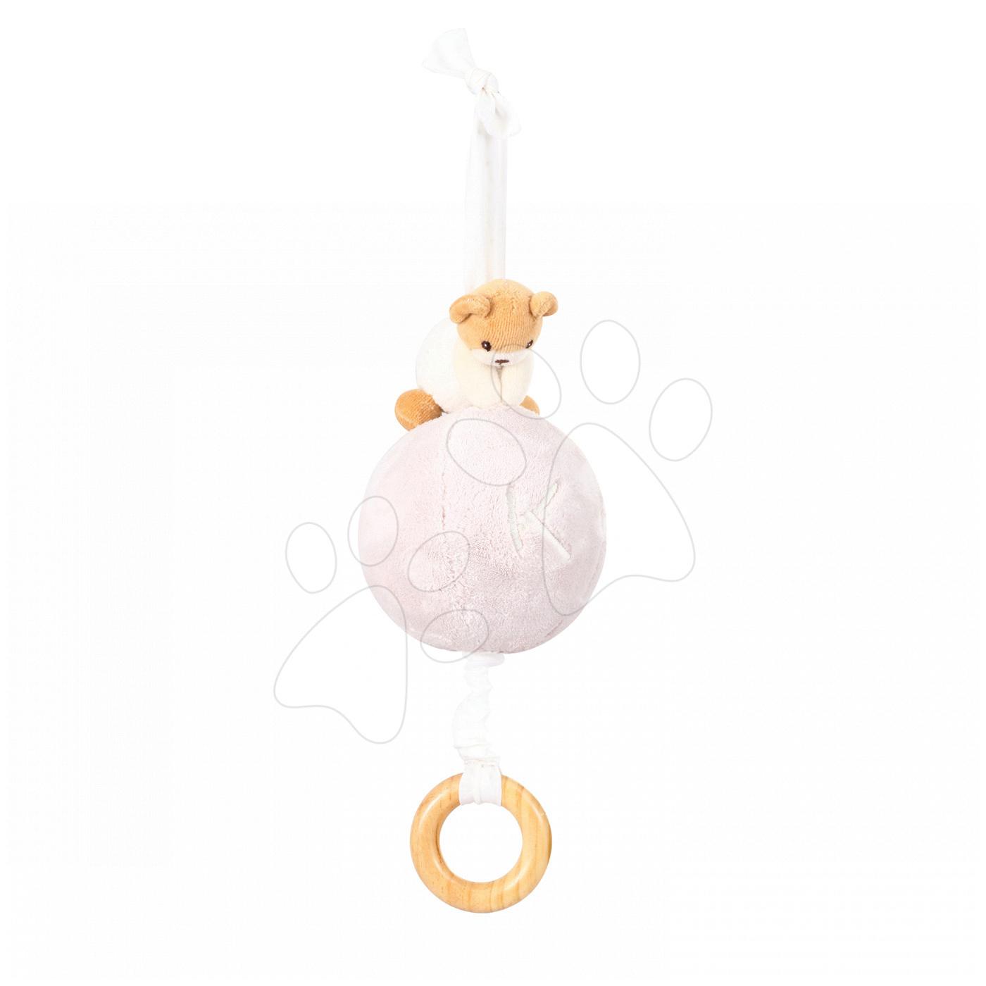 Plyšová loptička medveď s hudbou Plume - Pull Along Ball Kaloo béžová z jemného mäkkého plyšu