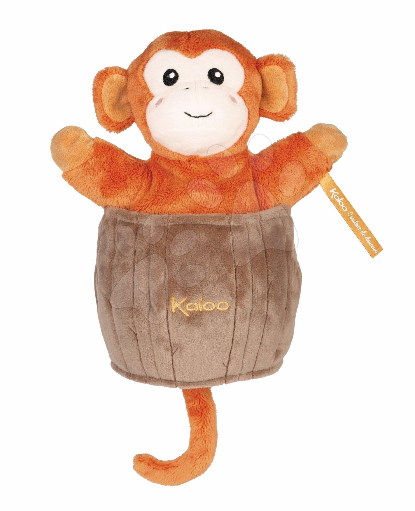 Plyšová opička bábkové divadlo Jack Monkey Kachoo Kaloo prekvapenie v kokosovom orechu 25 cm pre najmenších od 0 mes