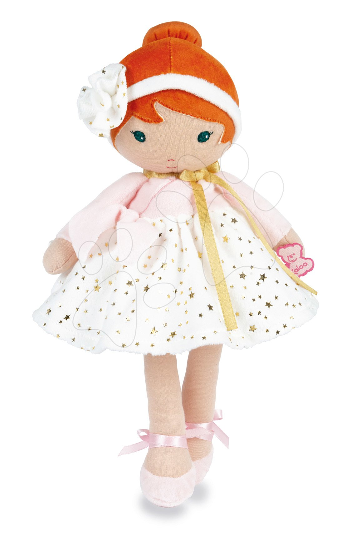 Bábika pre bábätká Valentine K Doll Tendresse Kaloo 32 cm vo hviezdičkových šatách z jemného textilu v darčekovom balení od 0 mes