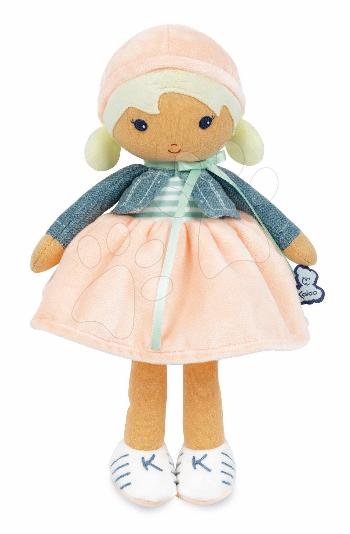 Bábika pre bábätká Chloe K Doll Tendresse Kaloo 25 cm v riflovom kabátiku z jemného textilu v darčekovom balení od 0 mes