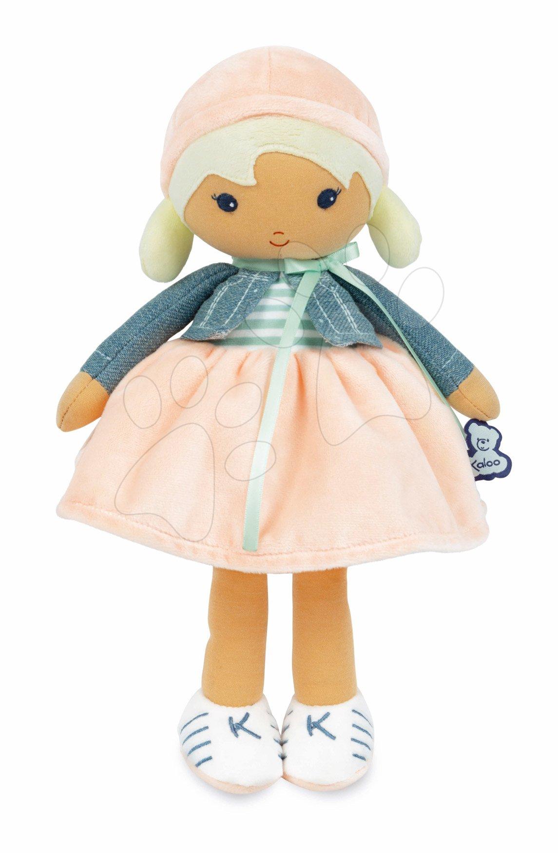Bábika pre bábätká Chloe K Doll Tendresse Kaloo 32 cm v riflovom kabátiku z jemného textilu v darčekovom balení od 0 mes