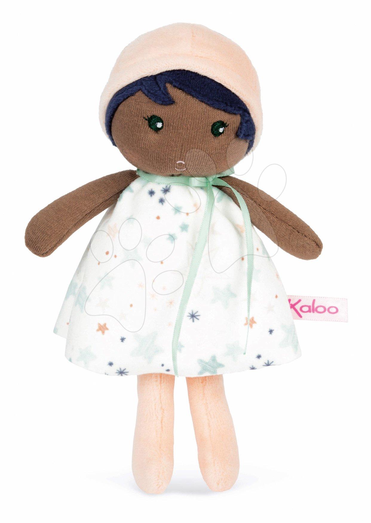 Bábika pre bábätká Manon K Doll Tendresse Kaloo 18 cm v hviezdičkových šatách z jemného textilu v darčekovom balení od 0 mes