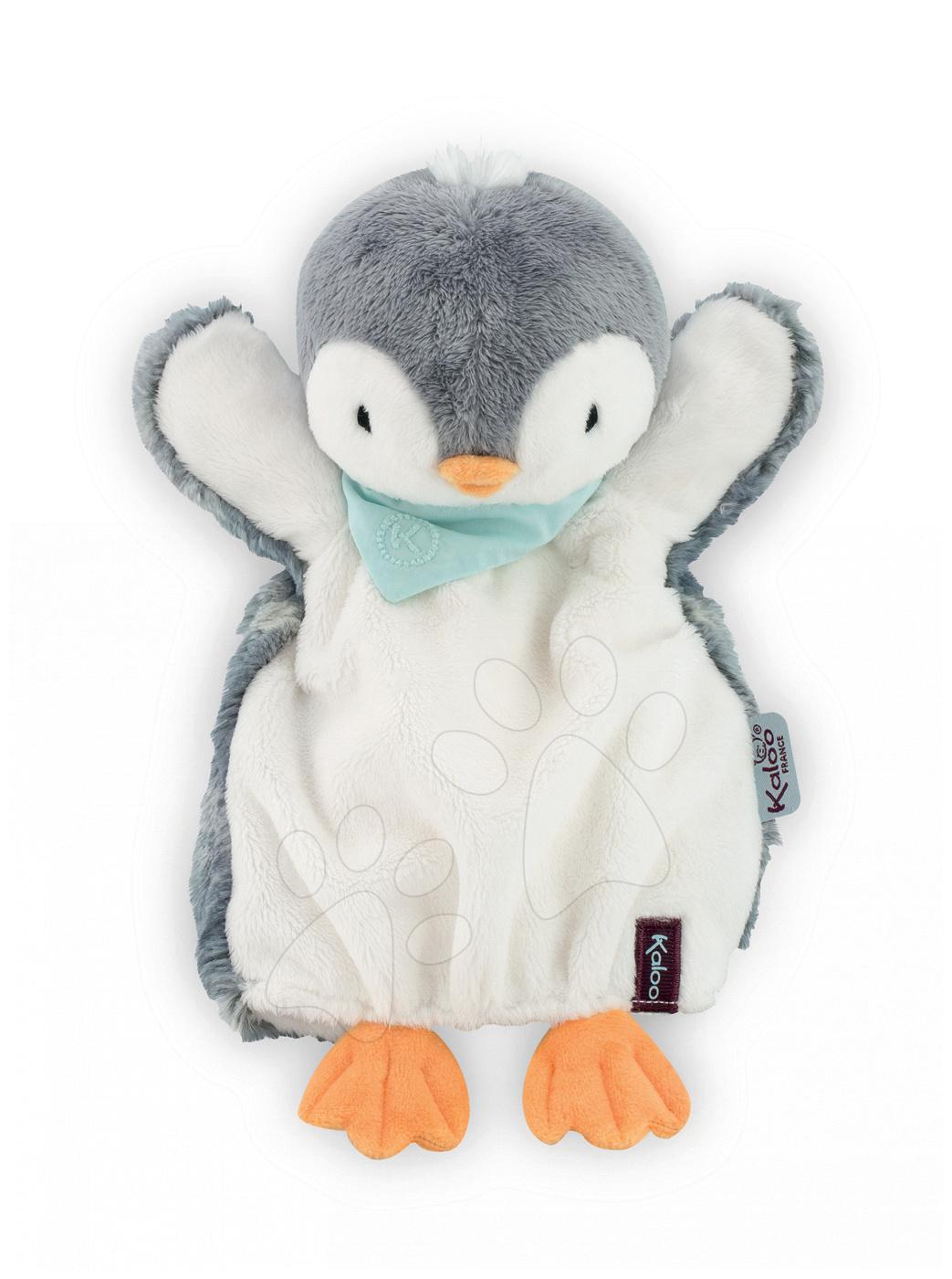 Bábky pre najmenších - Plyšový tučniak bábkové divadlo Les Amis-Penguin Doudou Kaloo 30 cm pre najmenších