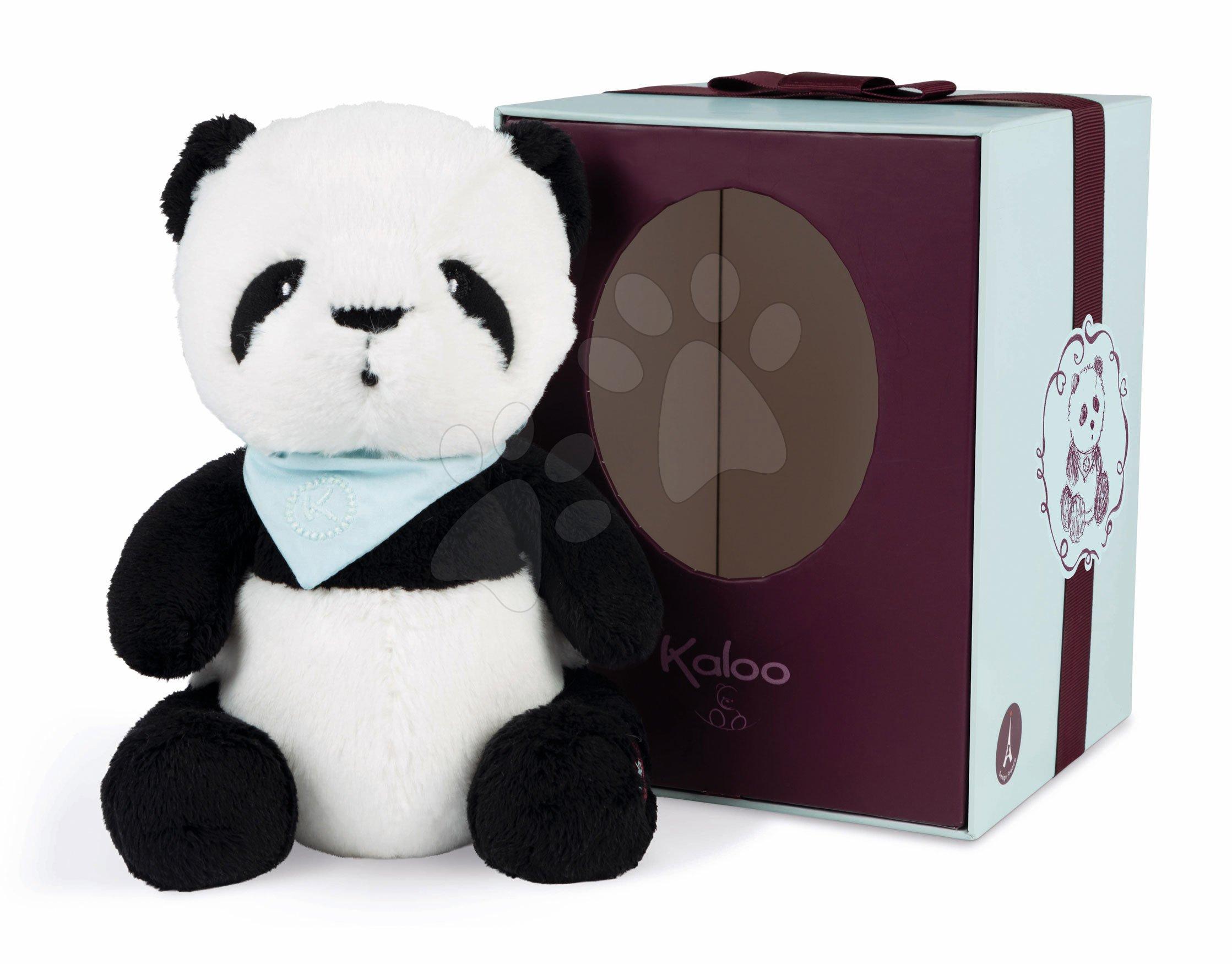 Plyšový medveď Panda Bamboo Les Amis Kaloo so šatkou 25 cm z jemnej plyše v darčekovej krabičke od 0 mes