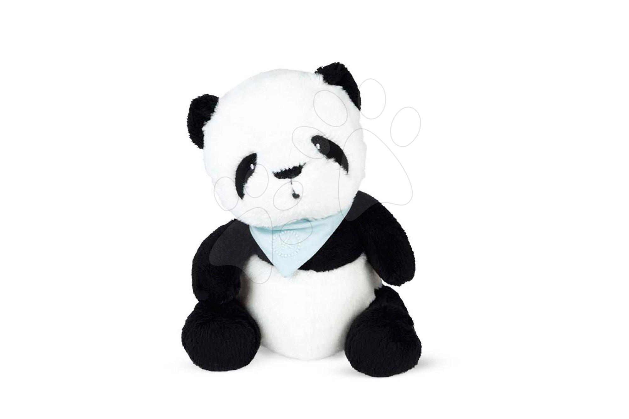 Plyšový medveď Panda Bamboo Les Amis Kaloo so šatkou 19 cm z jemnej plyše v darčekovej krabičke od 0 mes