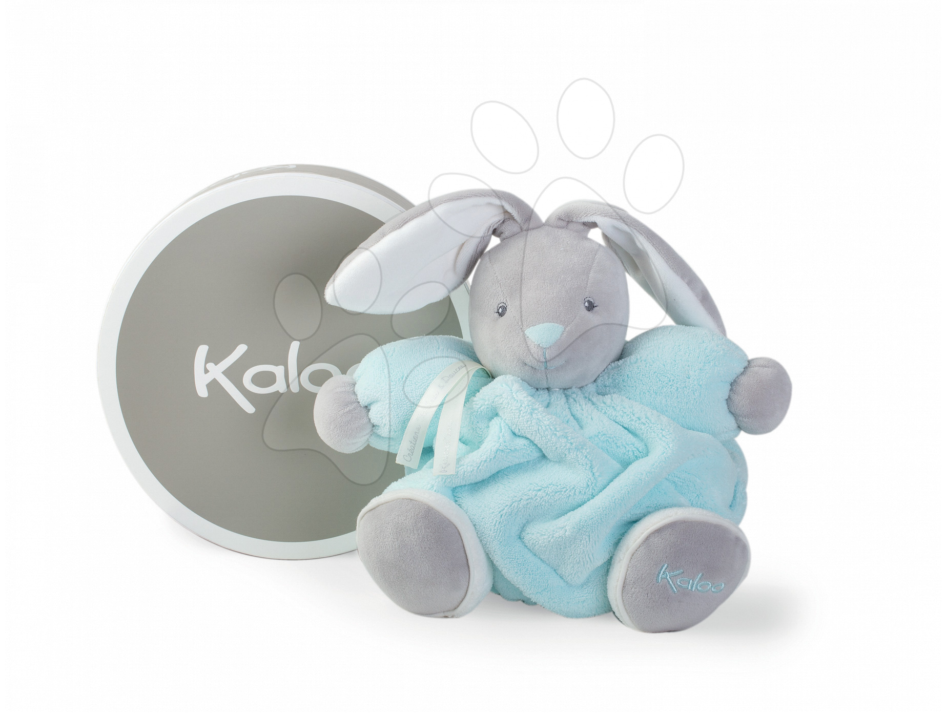 Plyšový zajačik Plume Chubby Kaloo 25 cm v darčekovom balení pre najmenšie deti tyrkysový