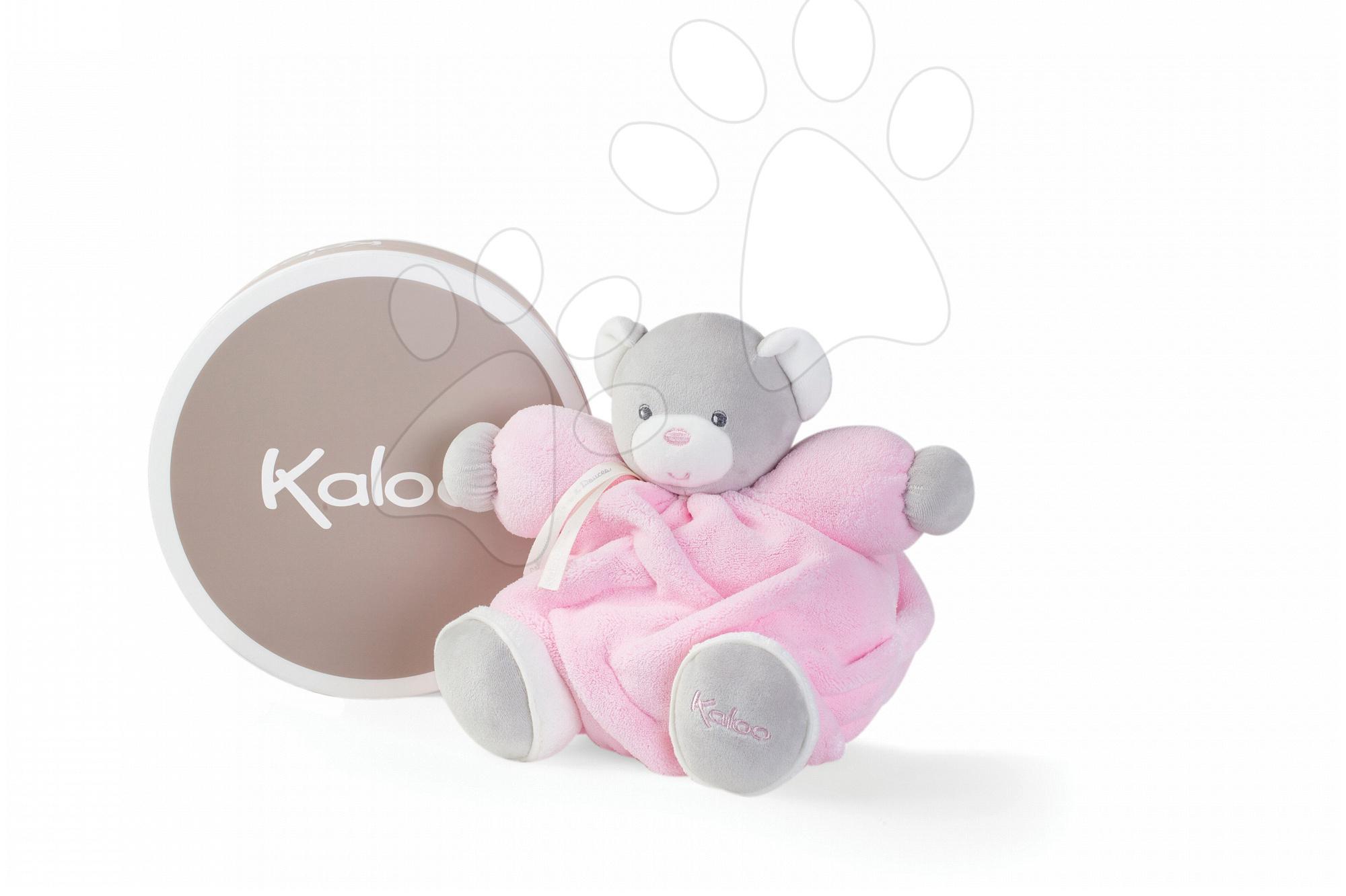 Plyšový medvedík Plume Chubby Kaloo 25 cm v darčekovom balení pre najmenšie deti ružový