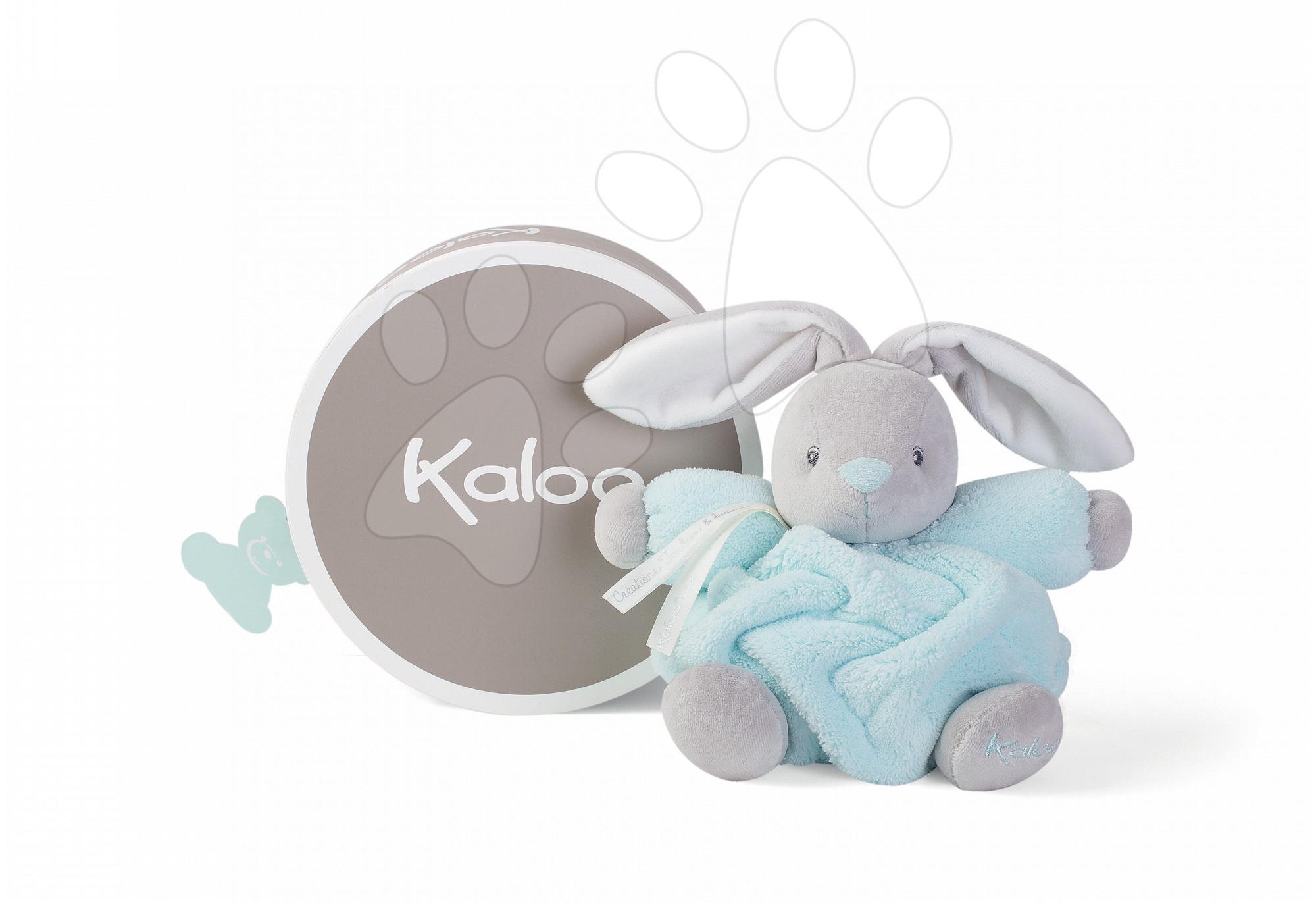 Plyšový zajačik Plume Chubby Kaloo 18 cm v darčekovom balení pre najmenšie deti šedo-akvamarínový