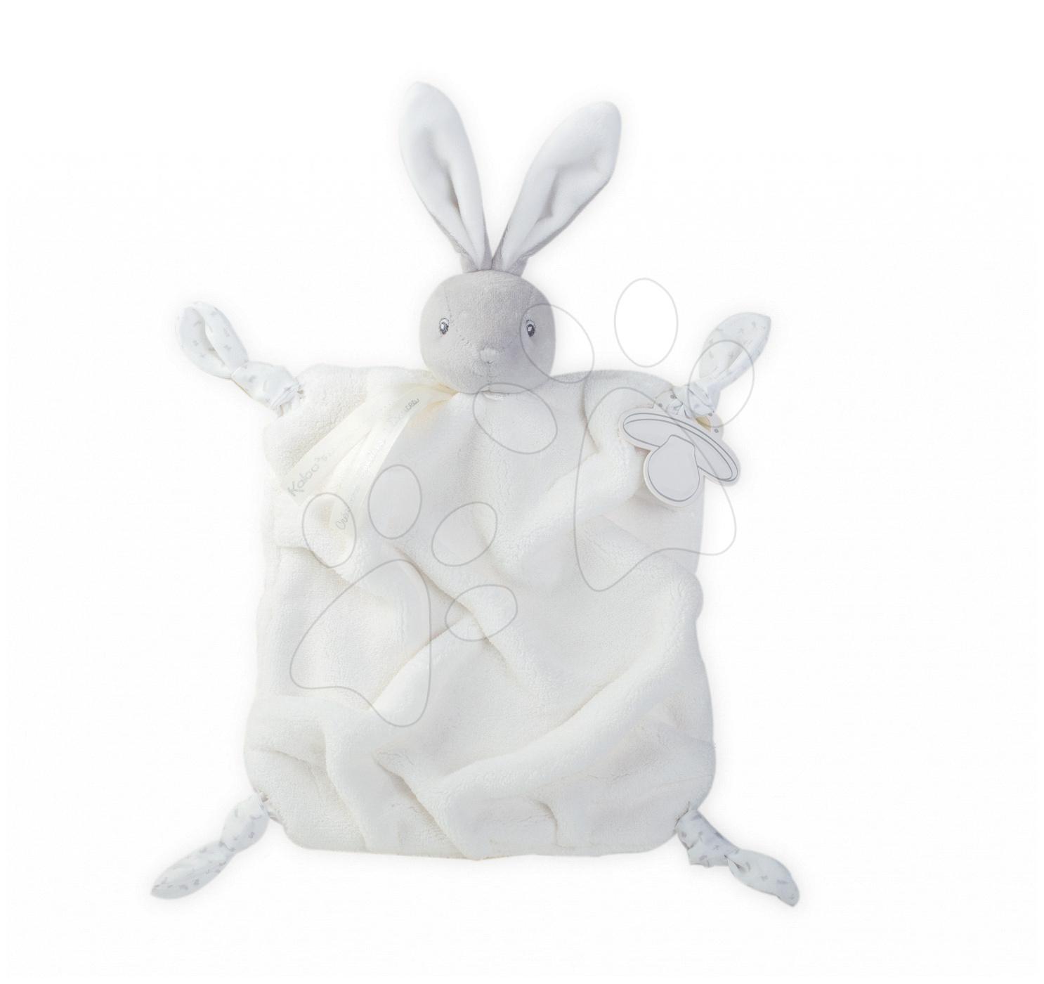 Plyšový králíček na mazlení Plume Doudou Kaloo 20 cm v dárkovém balení pro nejmenší šedo-krémový
