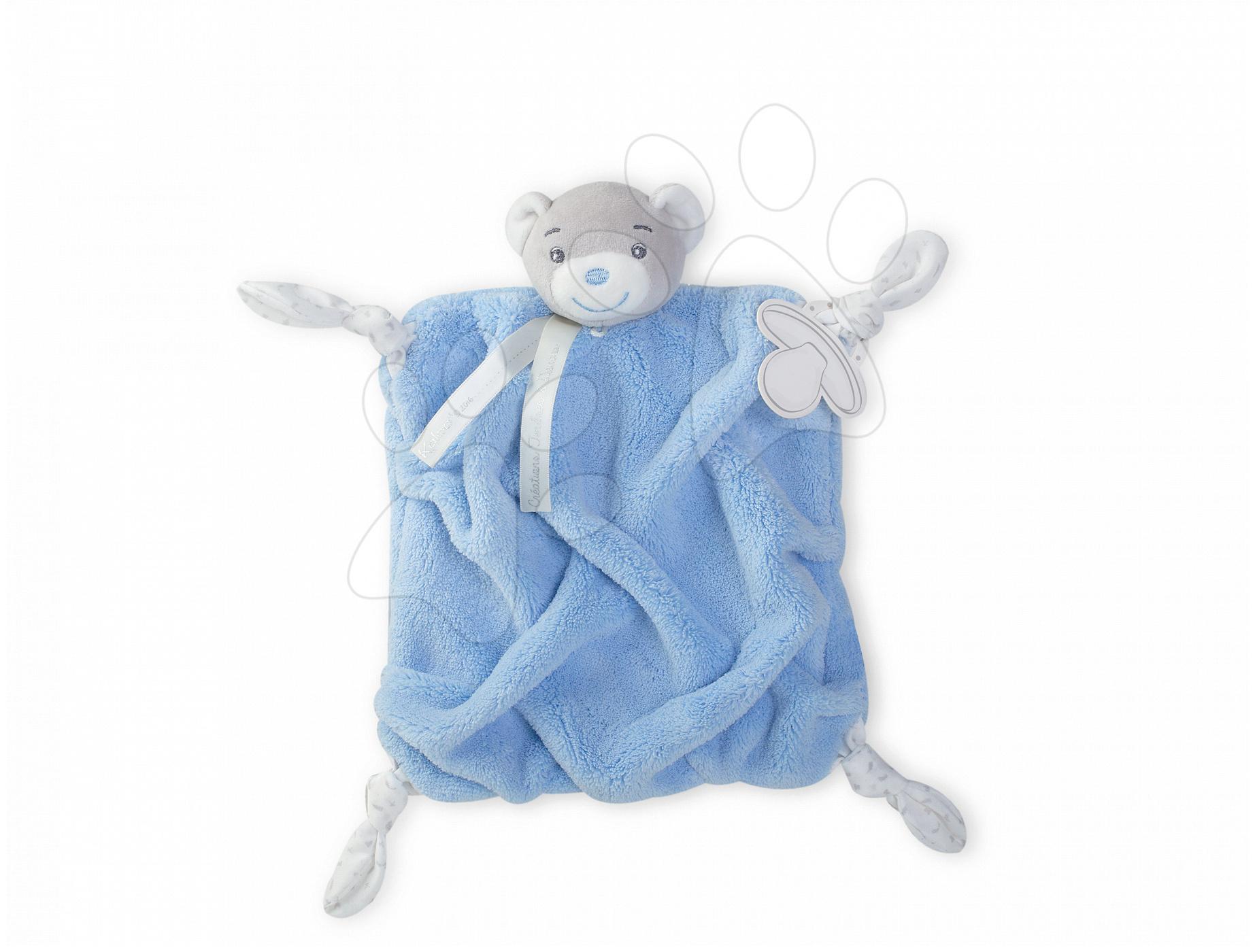 Plyšový medvěd na mazlení Plume Doudou Kaloo 20 cm v dárkovém balení pro nejmenší šedo-modrý