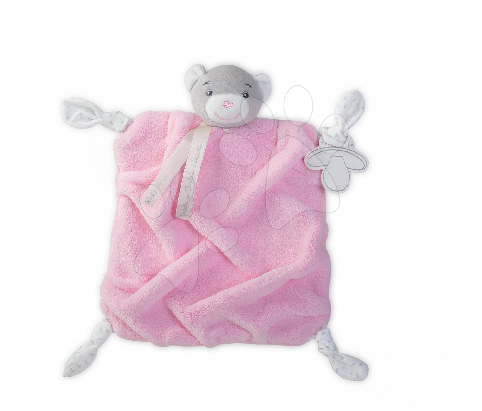 Plyšový medvěd na mazlení Plume Doudou Kaloo 20 cm v dárkovém balení pro nejmenší růžový