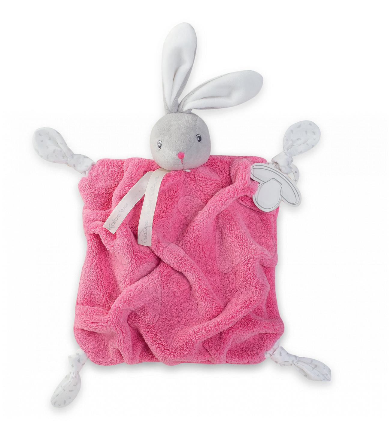 Plyšový zajačik na maznanie Plume Doudou Kaloo 20 cm v darčekovom balení pre najmenšie deti ružový