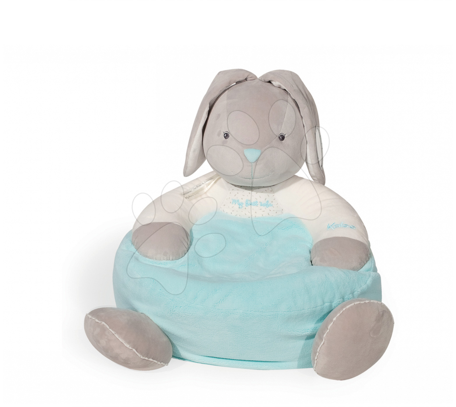 Kreslo plyšový zajačik Plume Sofa Kaloo 45 cm pre najmenších tyrkysovo-šedý