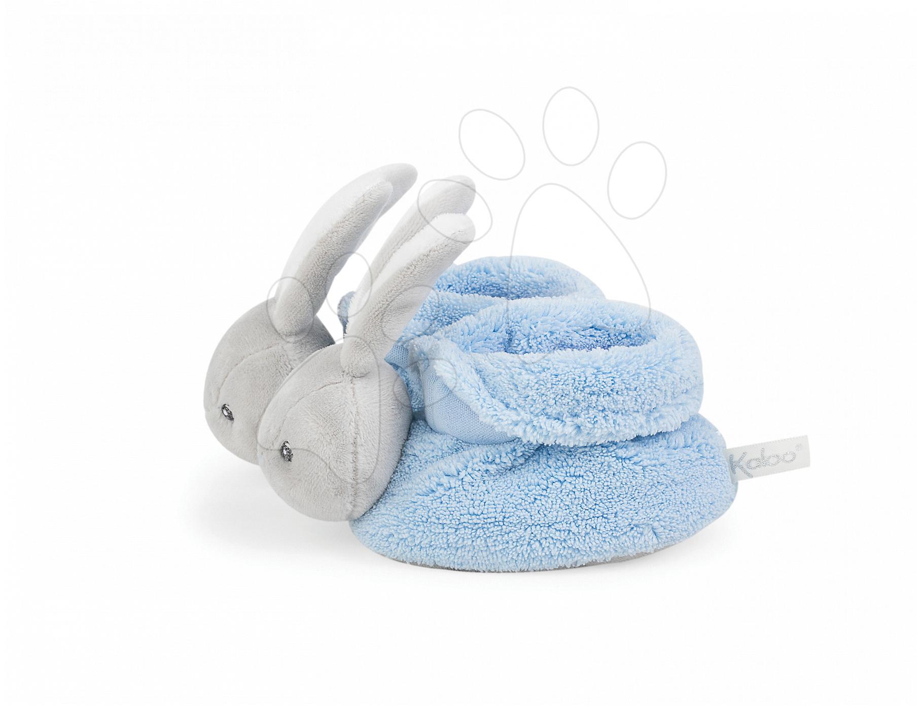 Plyšové papučky zajačik Plume Lapinou Kaloo z jemného plyšu, modré pre najmenších od 0 mes