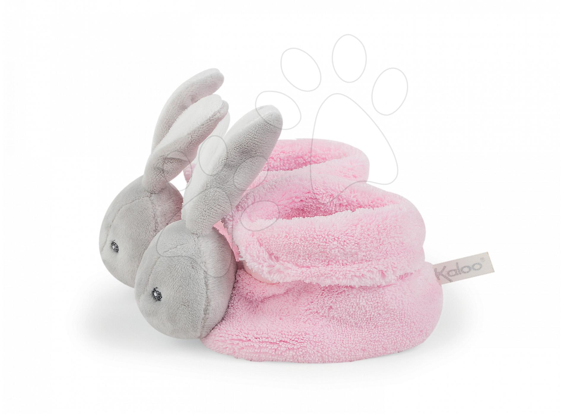 Plyšové papučky zajačik Plume Lapinou Kaloo z jemného plyšu, ružové pre najmenších od 0 mes
